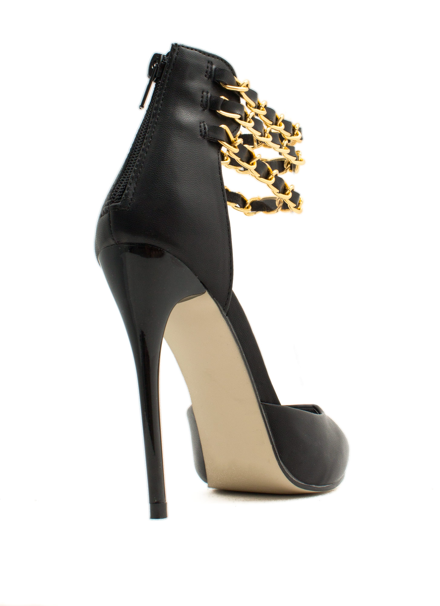 Triple Woven Chain D'Orsay Heels BLACK
