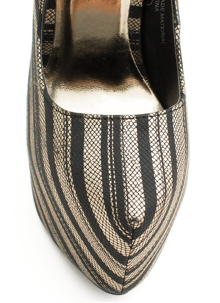 Stamped Stripes Platform Heels BLACKGOLD