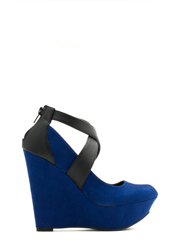 Crisscrossed Platform Wedges ROYAL