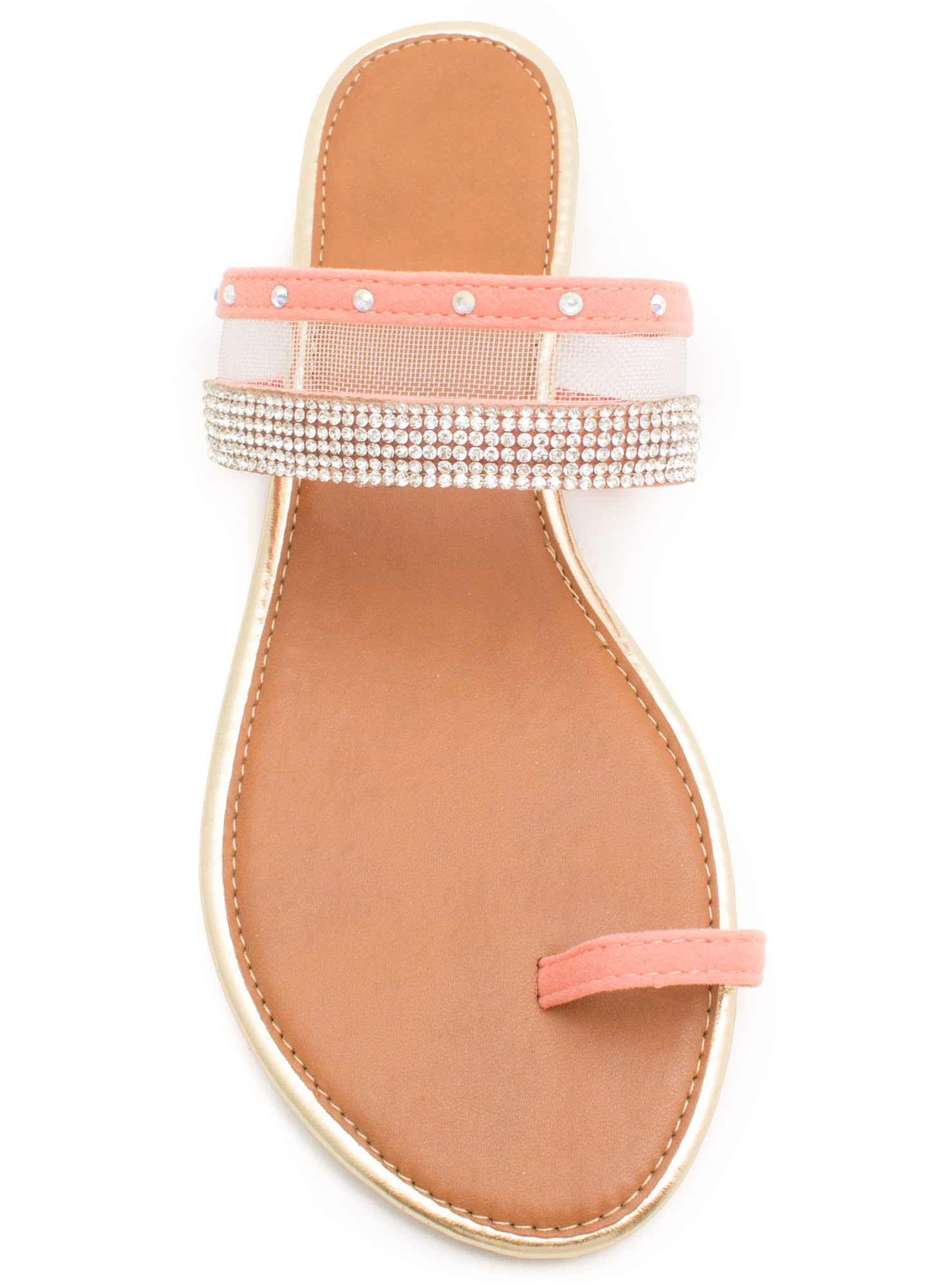 Bejeweled Mesh Inset Slide Sandals SALMON