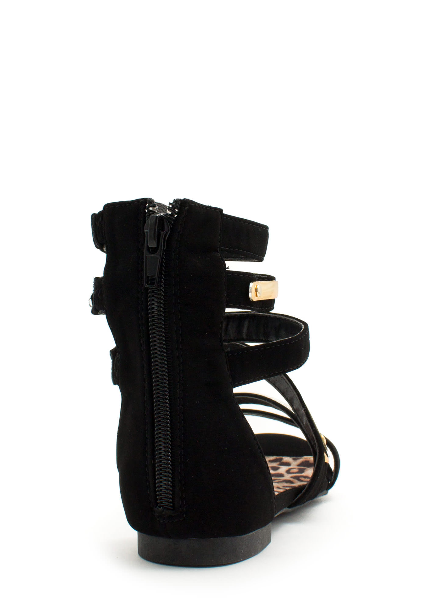 Metallic Accent Gladiator Sandals BLACK