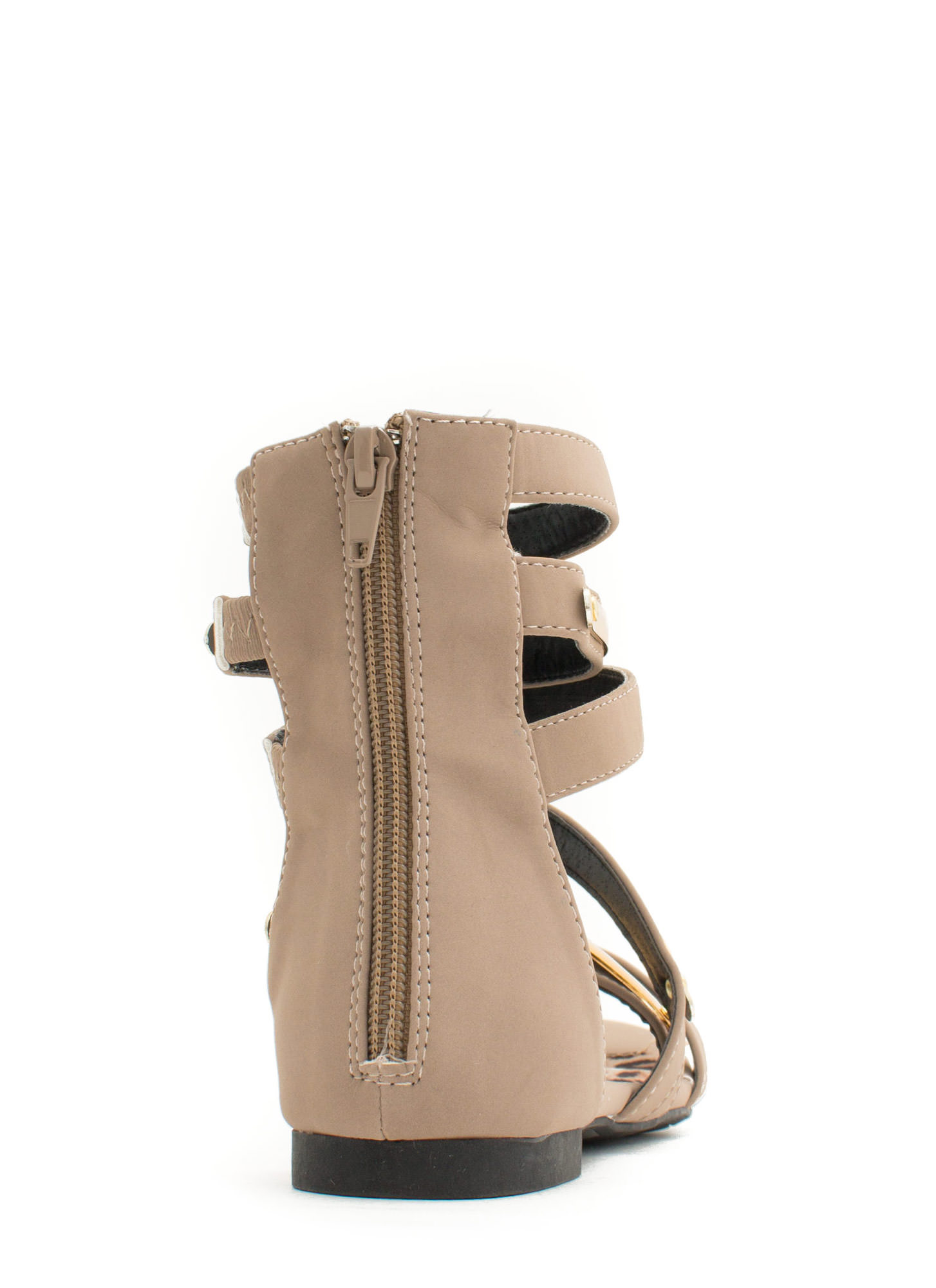 Metallic Accent Gladiator Sandals TAUPE