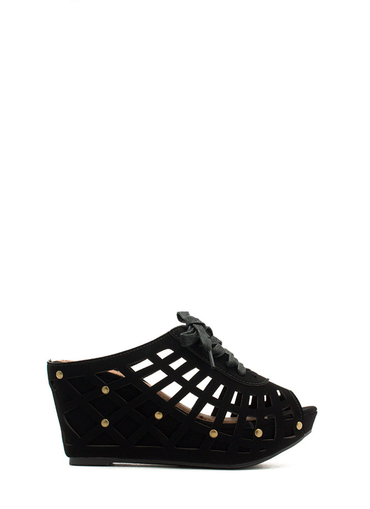 Laser Cut-Out 'N Lace-Up Slide Wedges BLACK