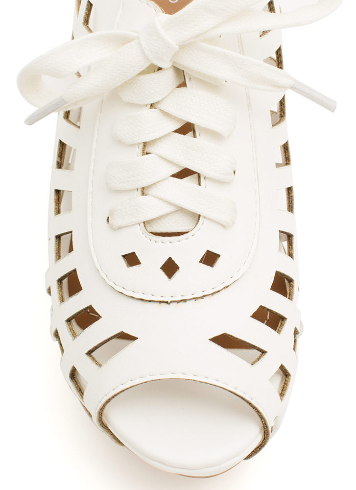 Laser Cut-Out 'N Lace-Up Slide Wedges WHITE