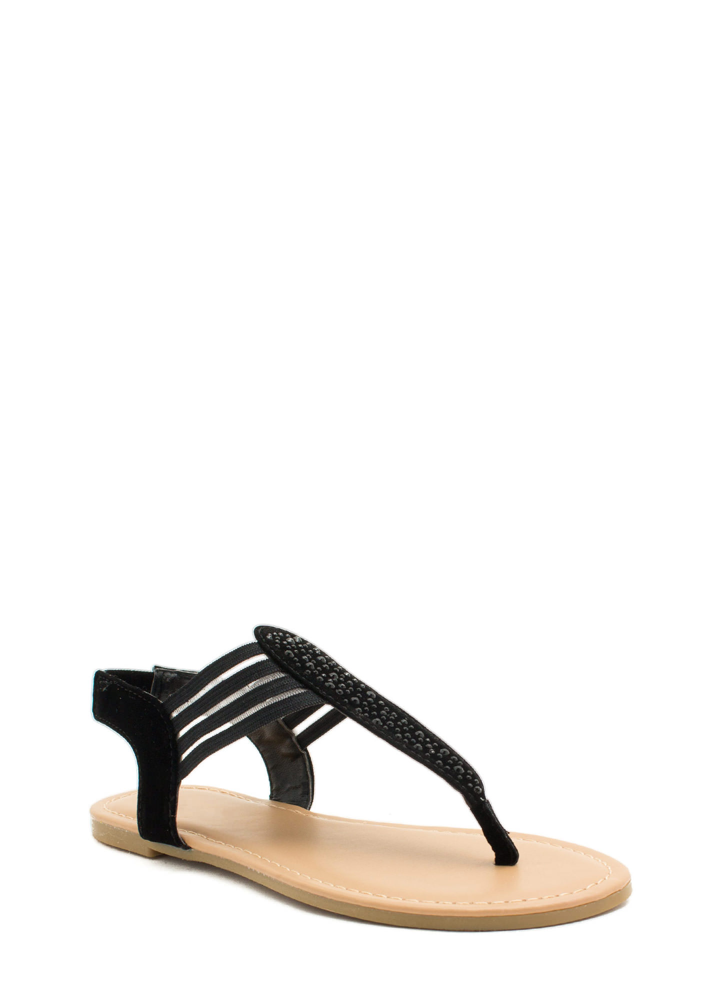 Mesh 'N Shine Thong Sandals BLACK