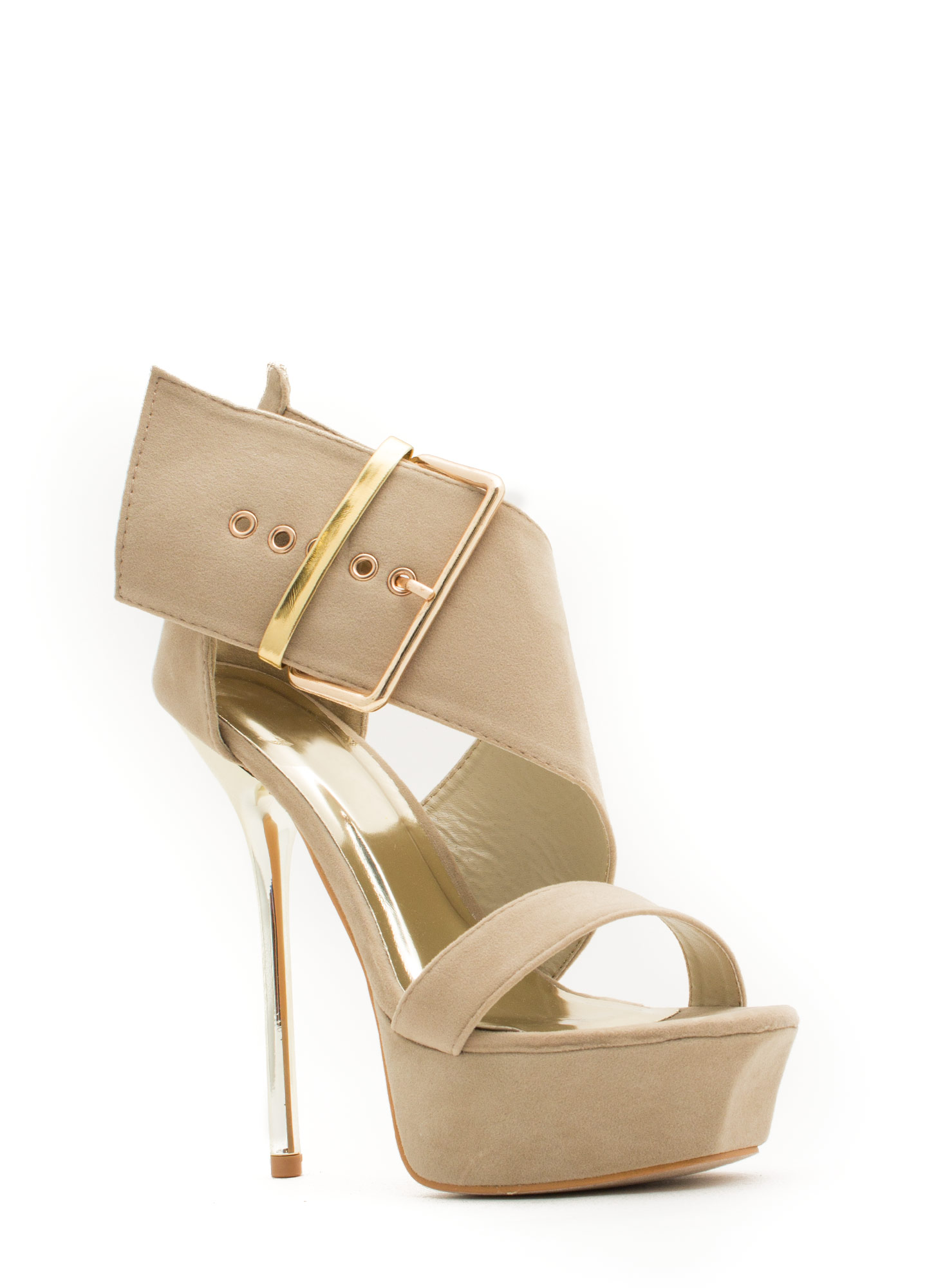 It's A Wrap Big Buckle Platform Heels NUDE