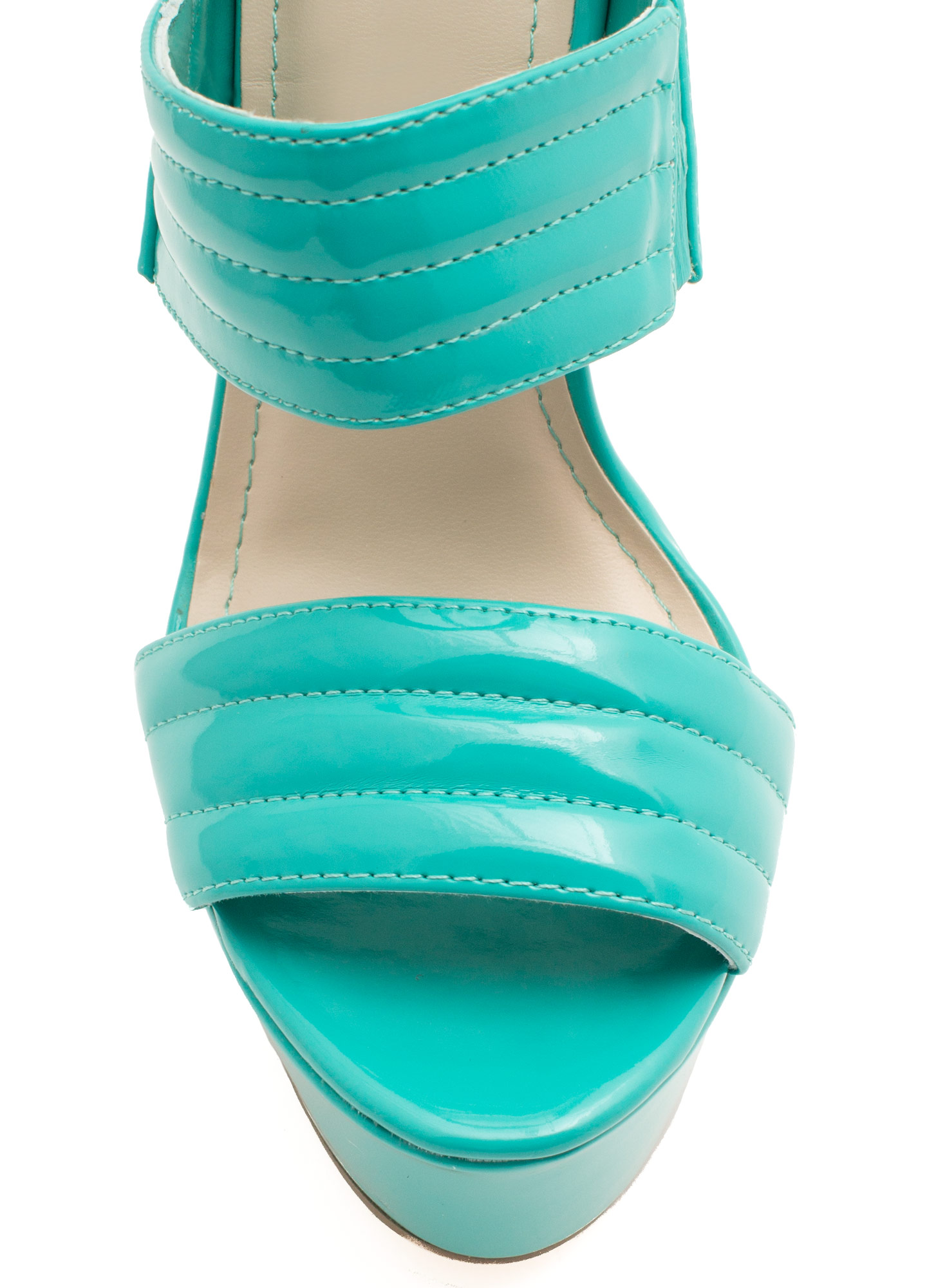 Triple Shot Faux Patent Leather Heels SEAFOAM
