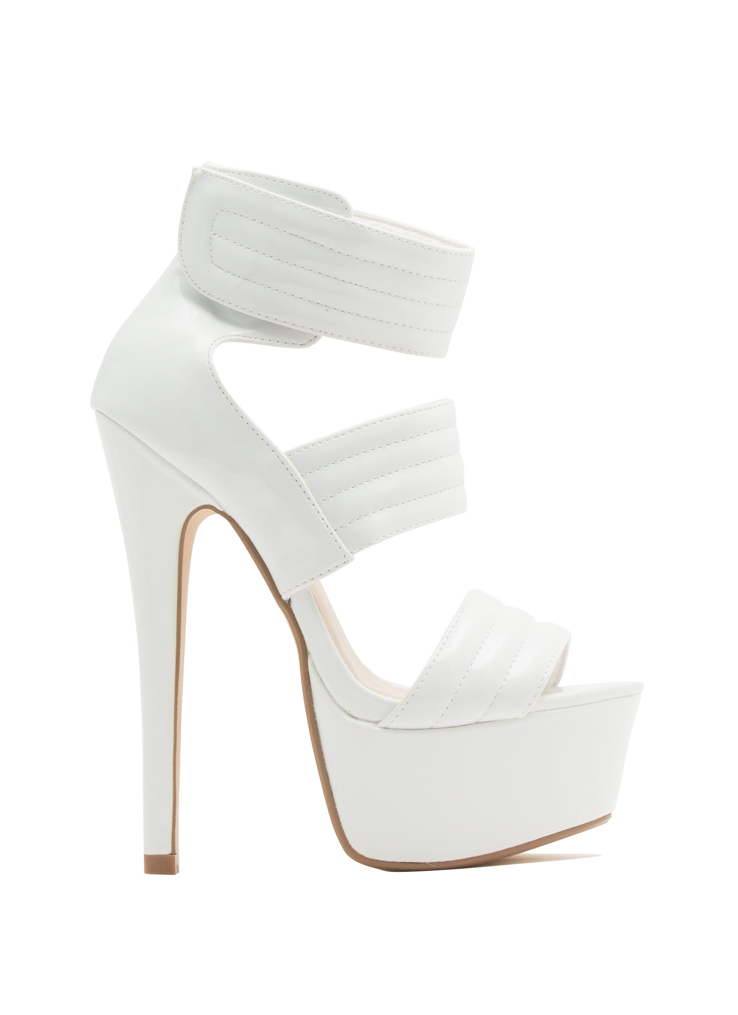 Triple Shot Faux Patent Leather Heels WHITE