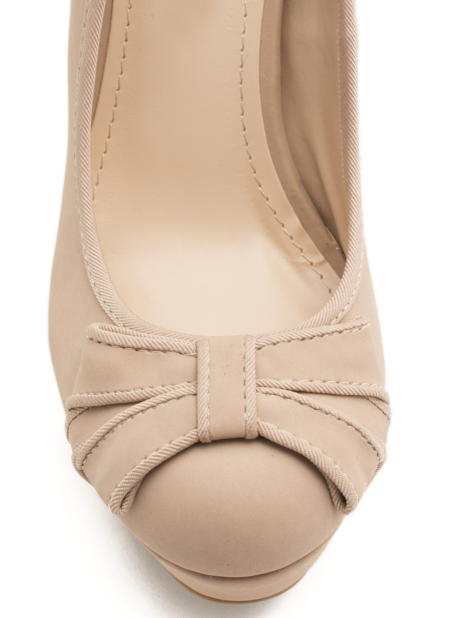 Bow Babe Faux Nubuck Heels NUDE
