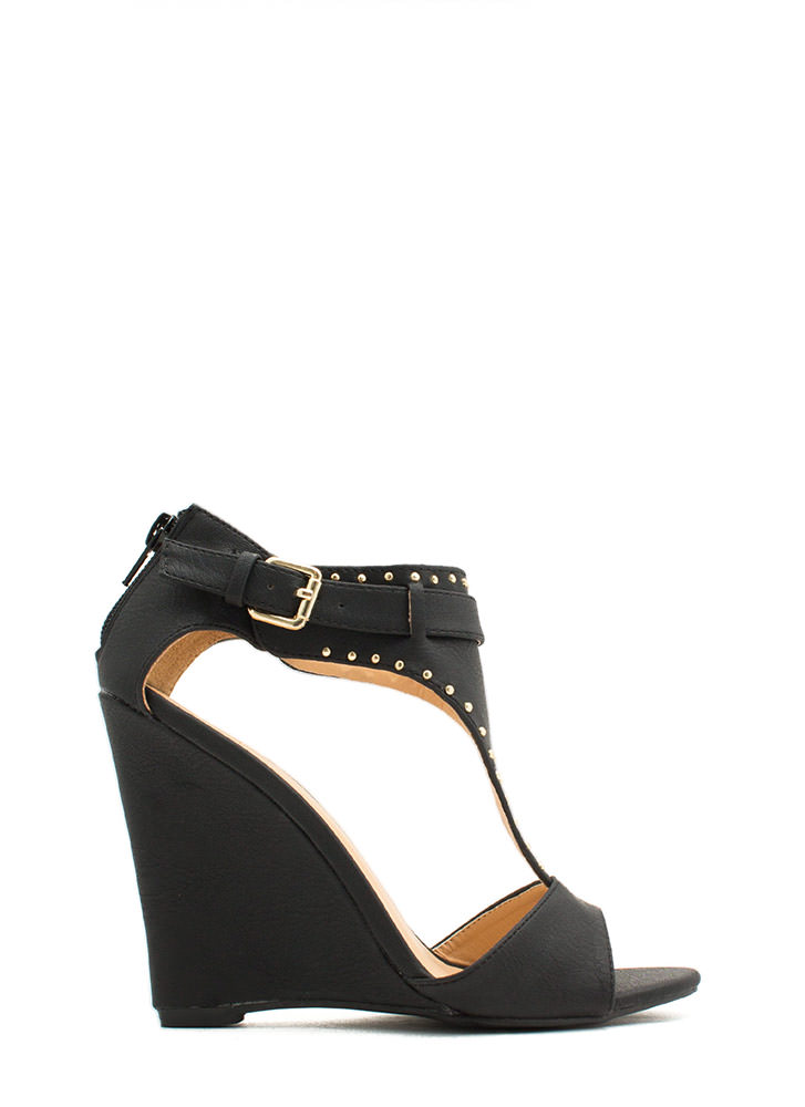 On The Dotted Line Studded Wedges BLACK