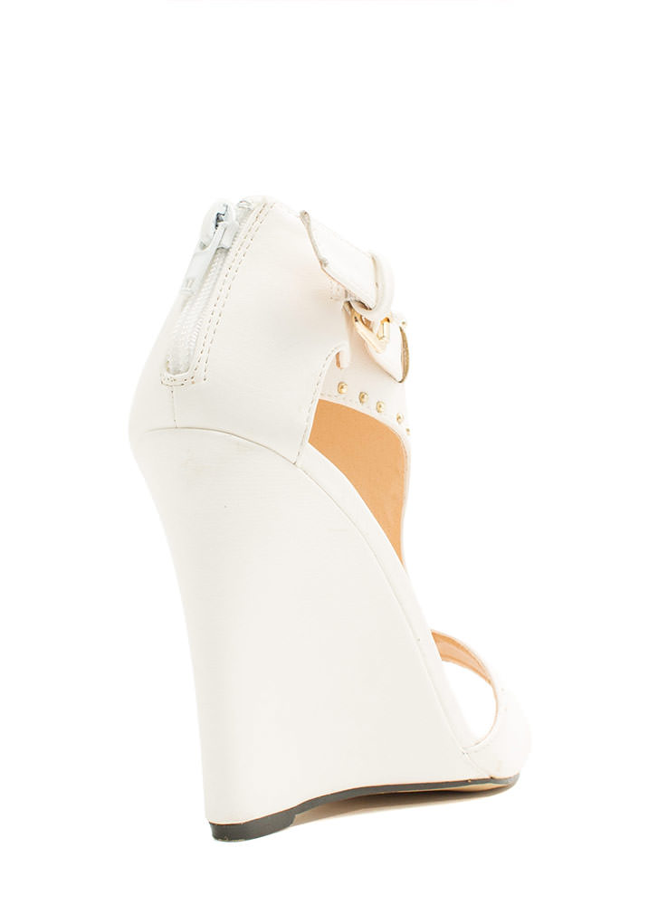 On The Dotted Line Studded Wedges WHITE
