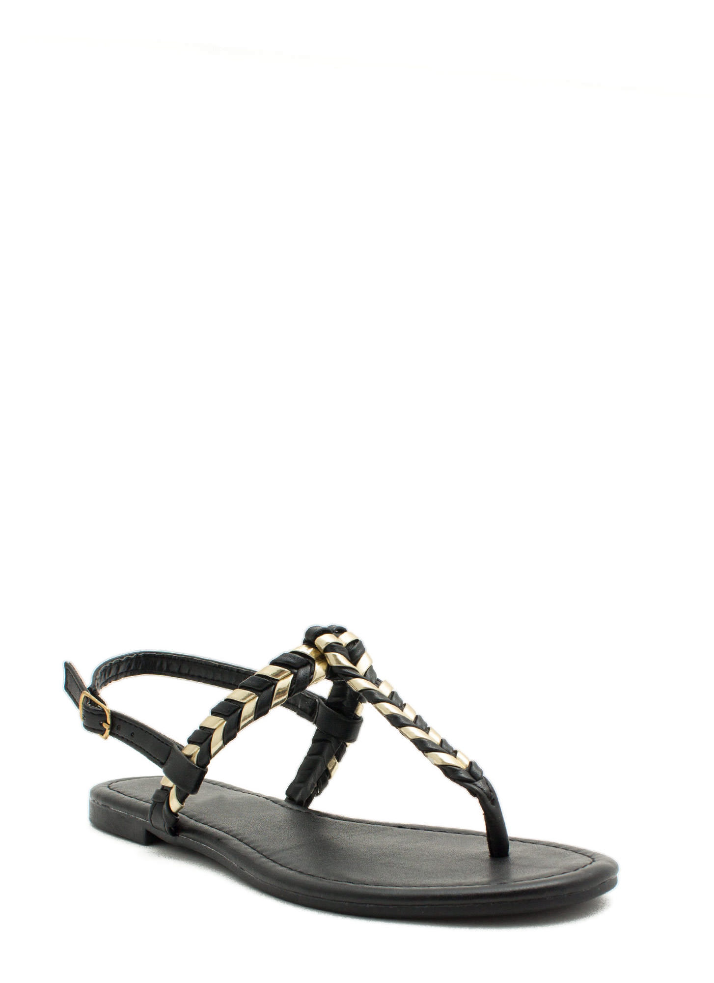 Weave A Comment T-Strap Sandals BLACKGOLD