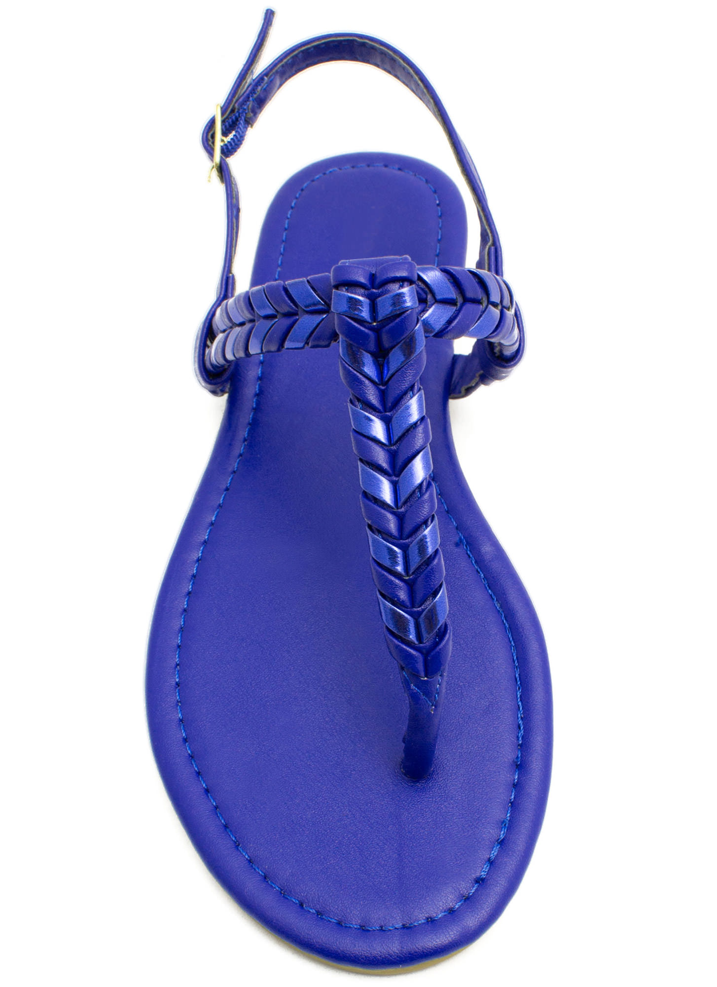 Weave A Comment T-Strap Sandals BLUE