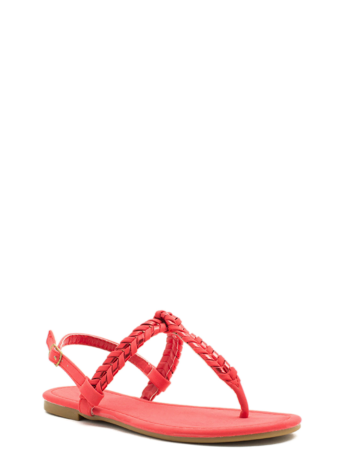 Weave A Comment T-Strap Sandals CAYENNE