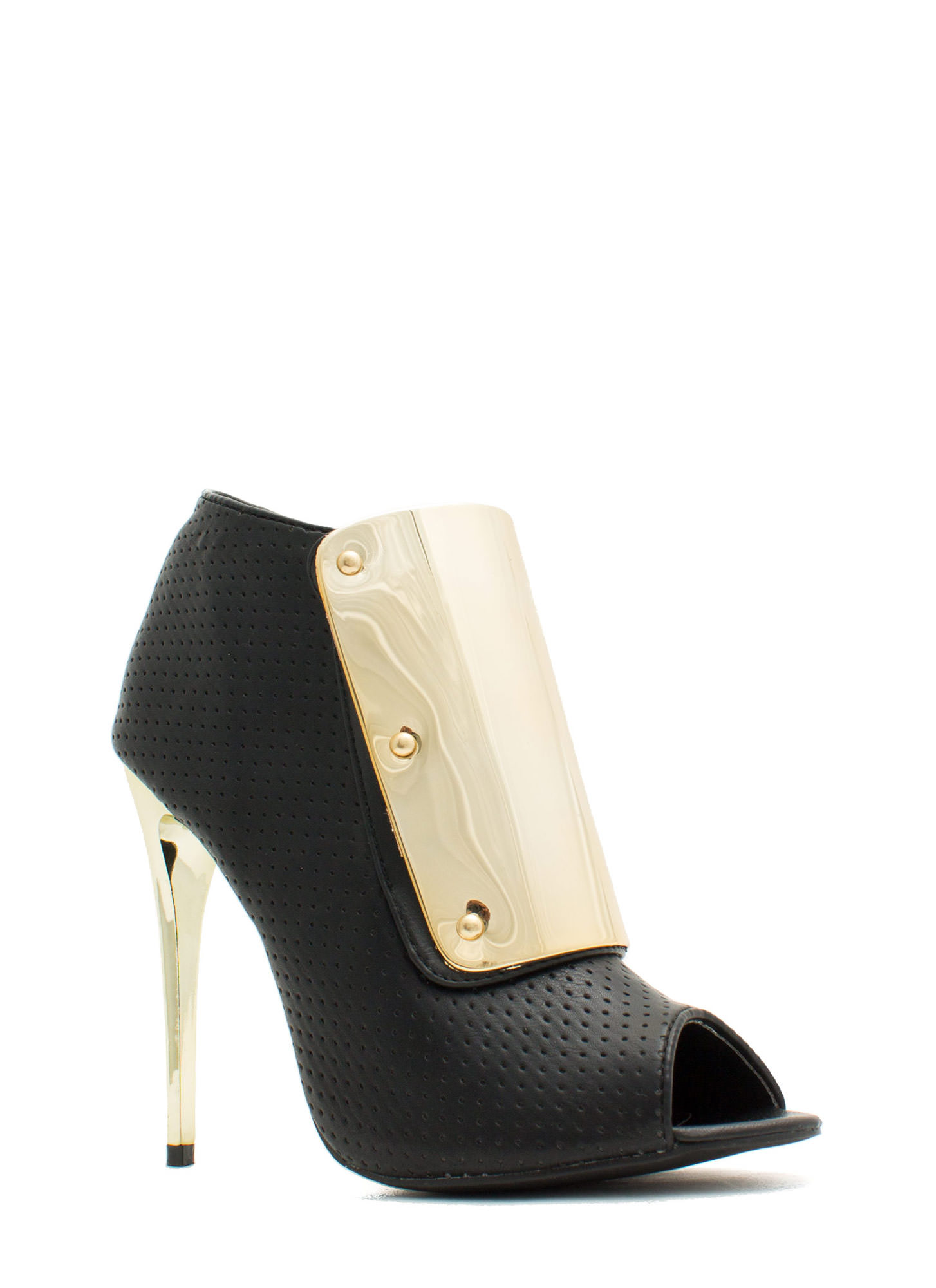 Plating For Keeps Perforated Booties BLACK