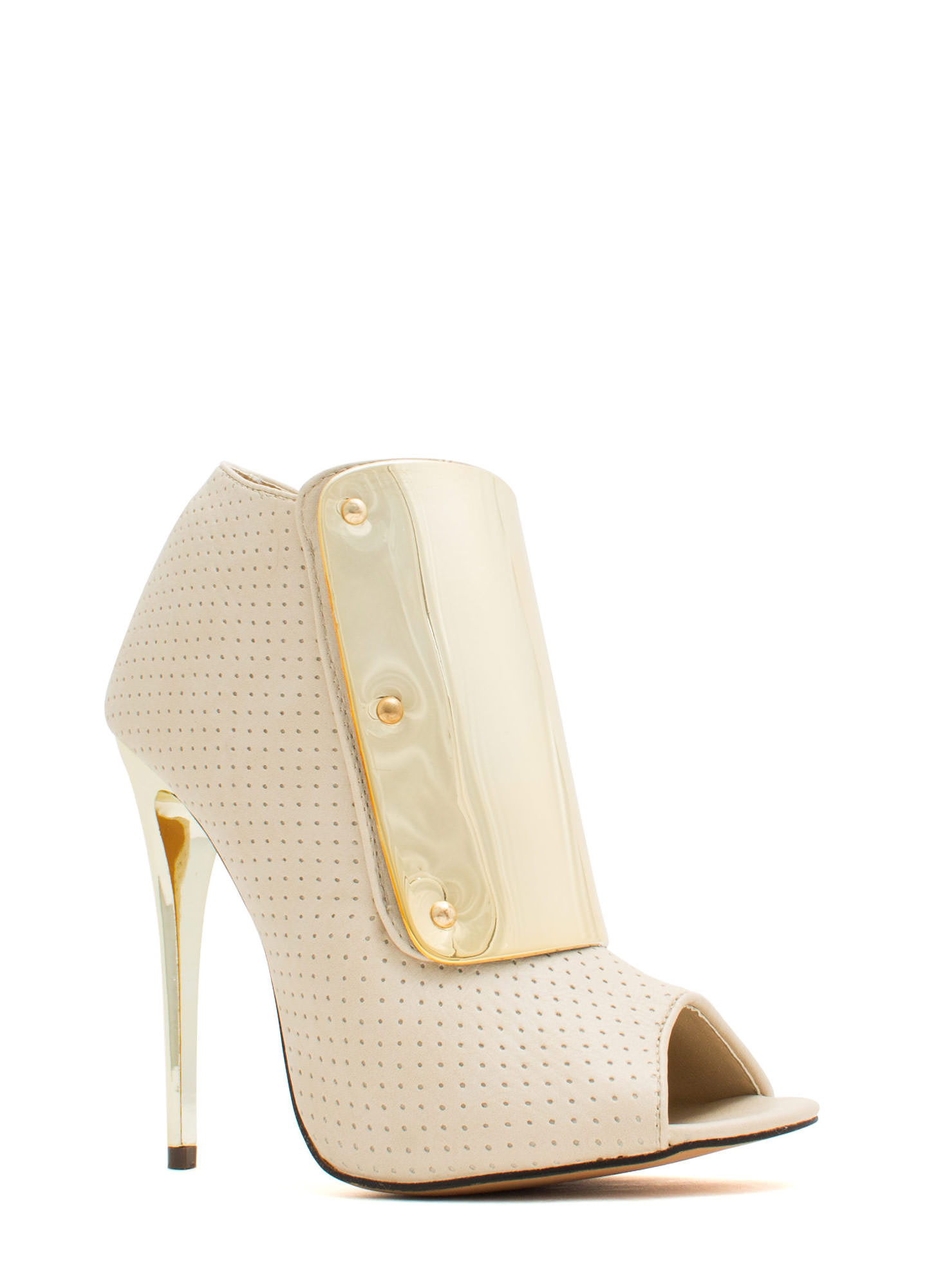 Plating For Keeps Perforated Booties NUDE