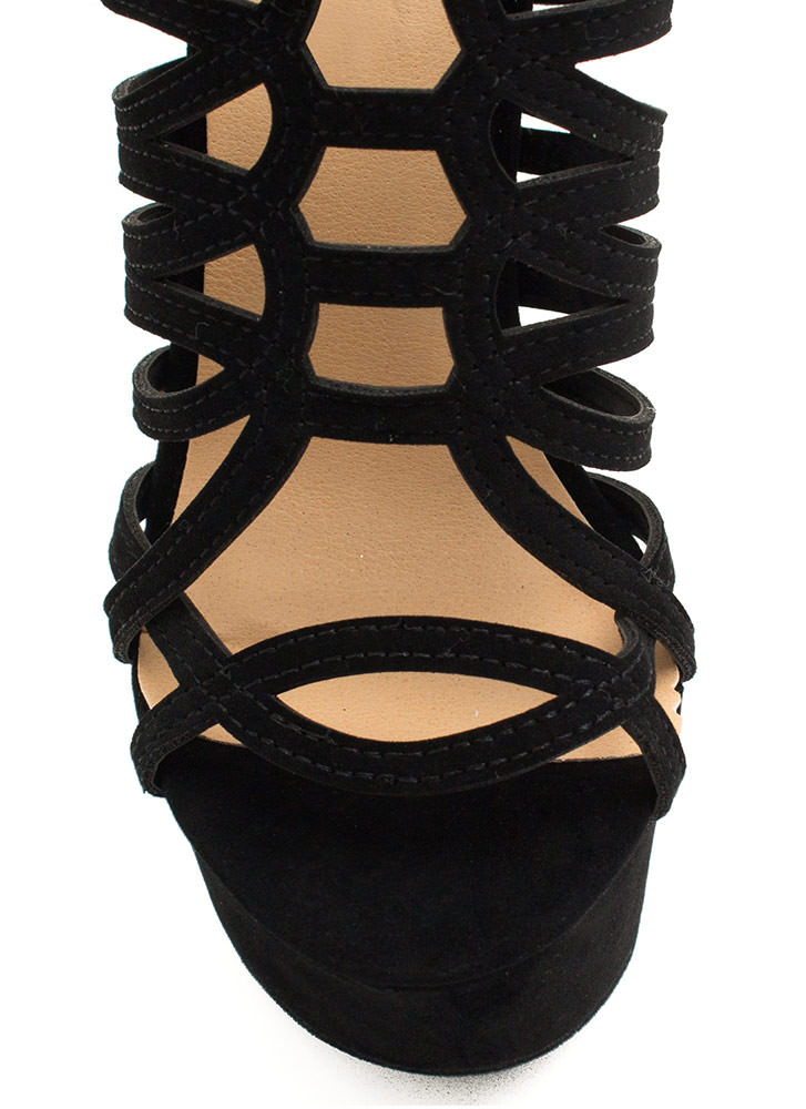Winding Roads Strappy Caged Platforms BLACK