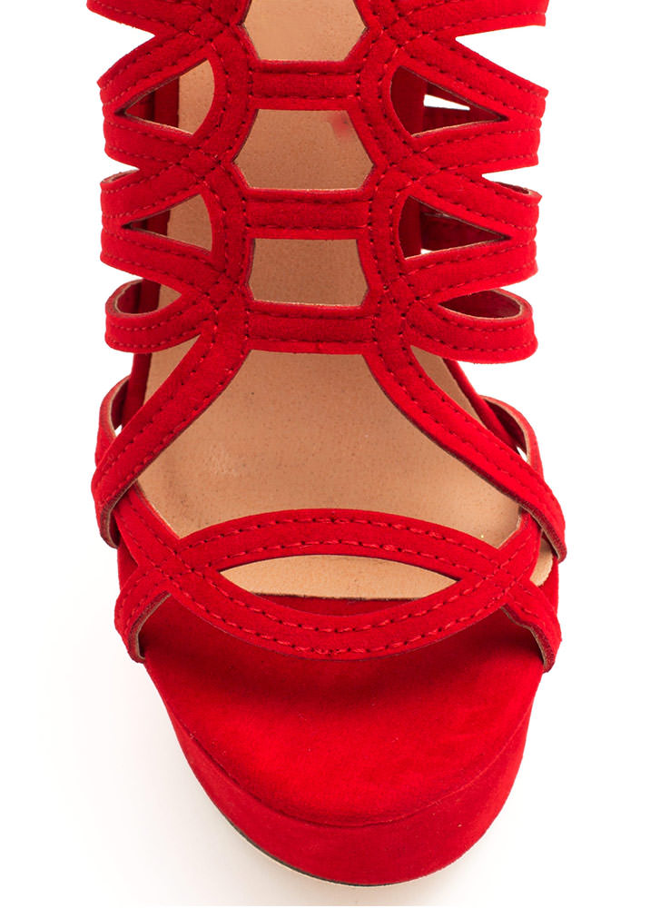Winding Roads Strappy Caged Platforms RED