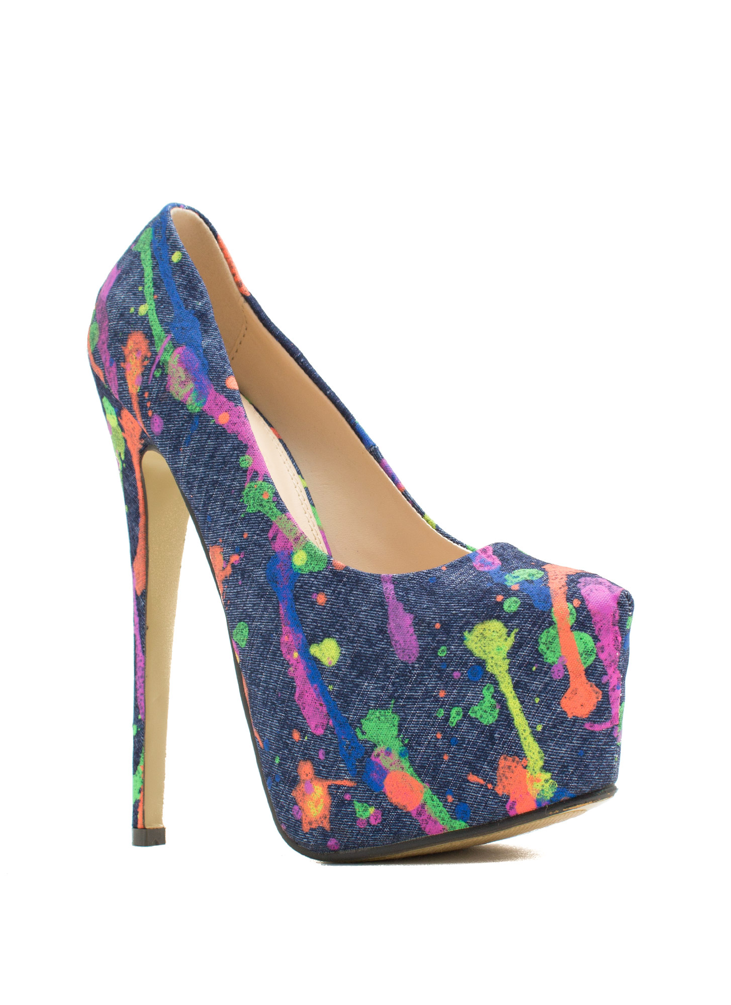 Mad Splatter Painted Print Platforms NAVY