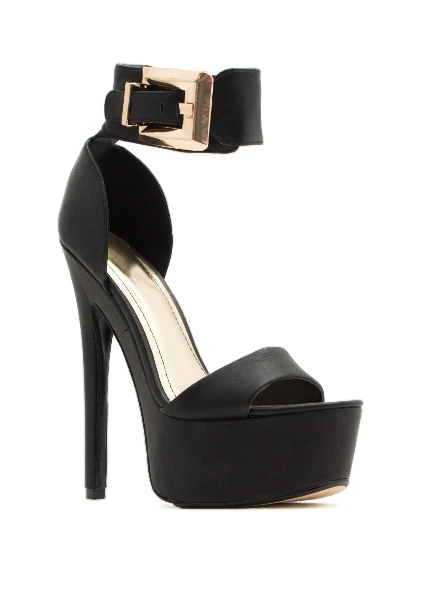 Cuff Luck Big Buckle Platform Heels BLACK