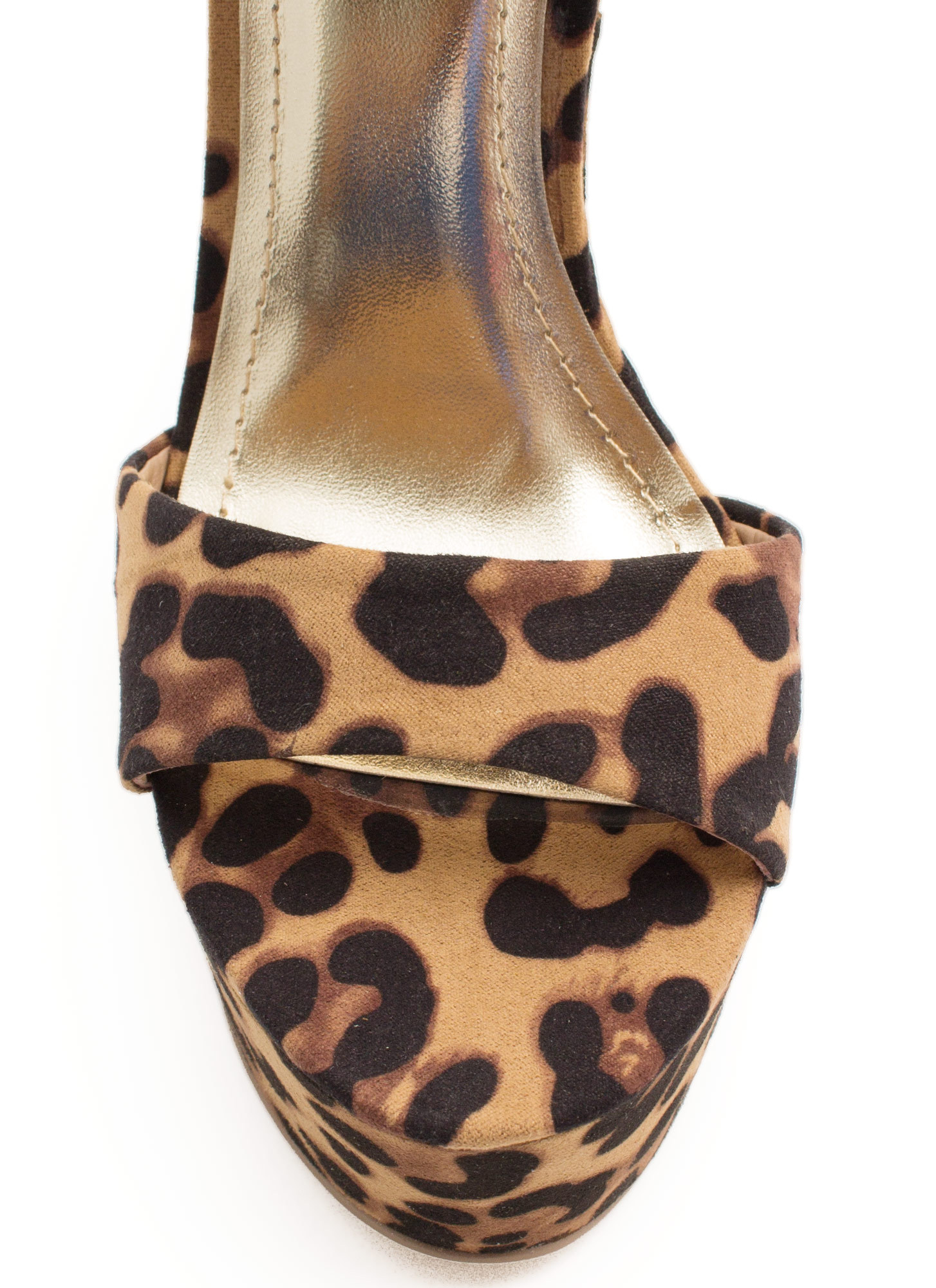 Cuff Luck Big Buckle Platform Heels LEOPARD