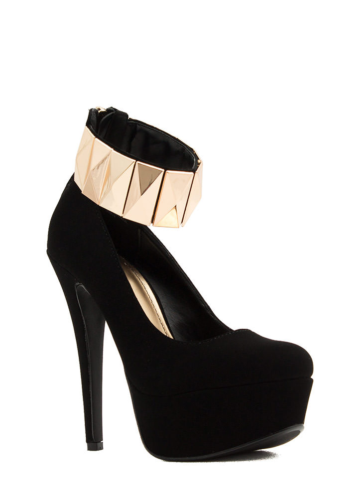 Tile Me Something Good Cuffed Heels BLACK