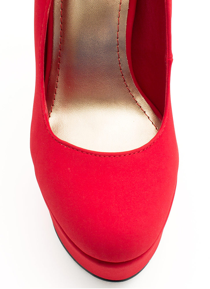 Tile Me Something Good Cuffed Heels RED