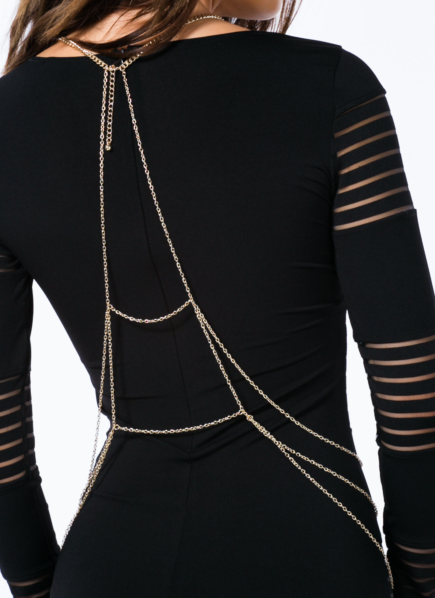 Hammered Squares Layered Body Chain GOLD