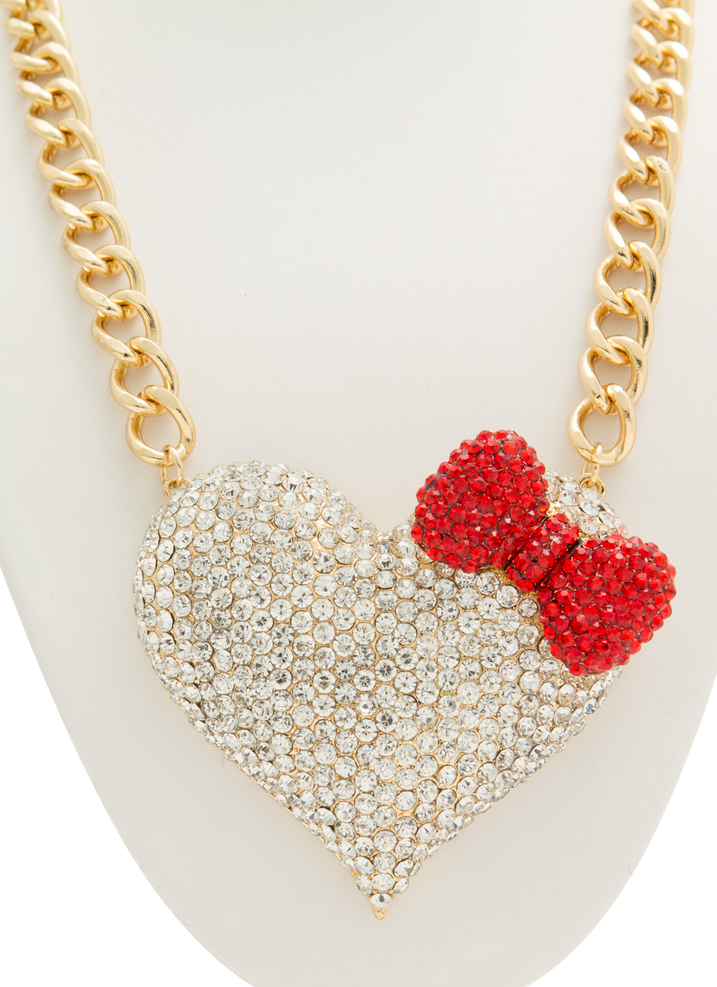 Oversized Jeweled Bow Heart Necklace GOLDCLEAR