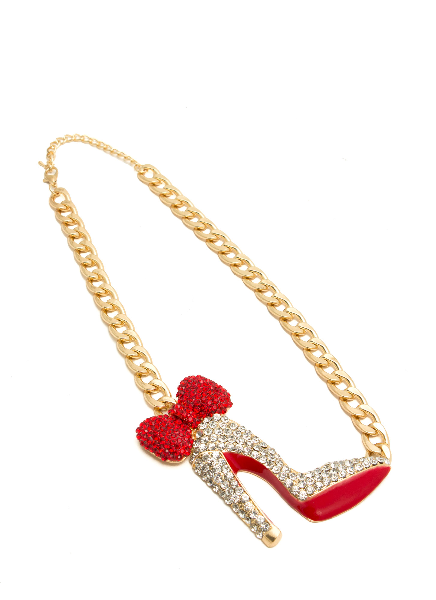 Oversized Jeweled Bow Heel Necklace GOLDCLEAR