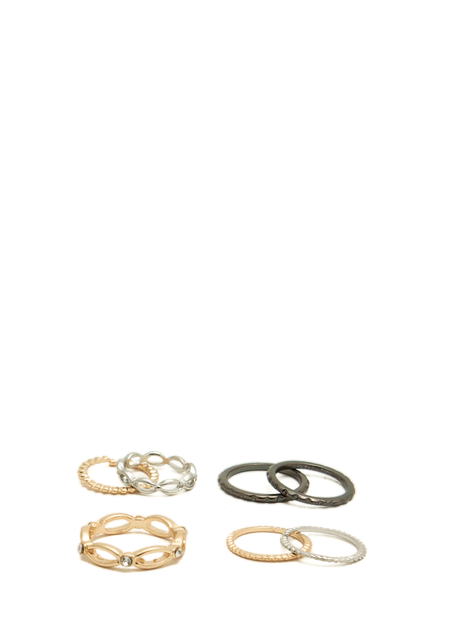 Dainty 'N Textured Metallic Ring Set MULTI