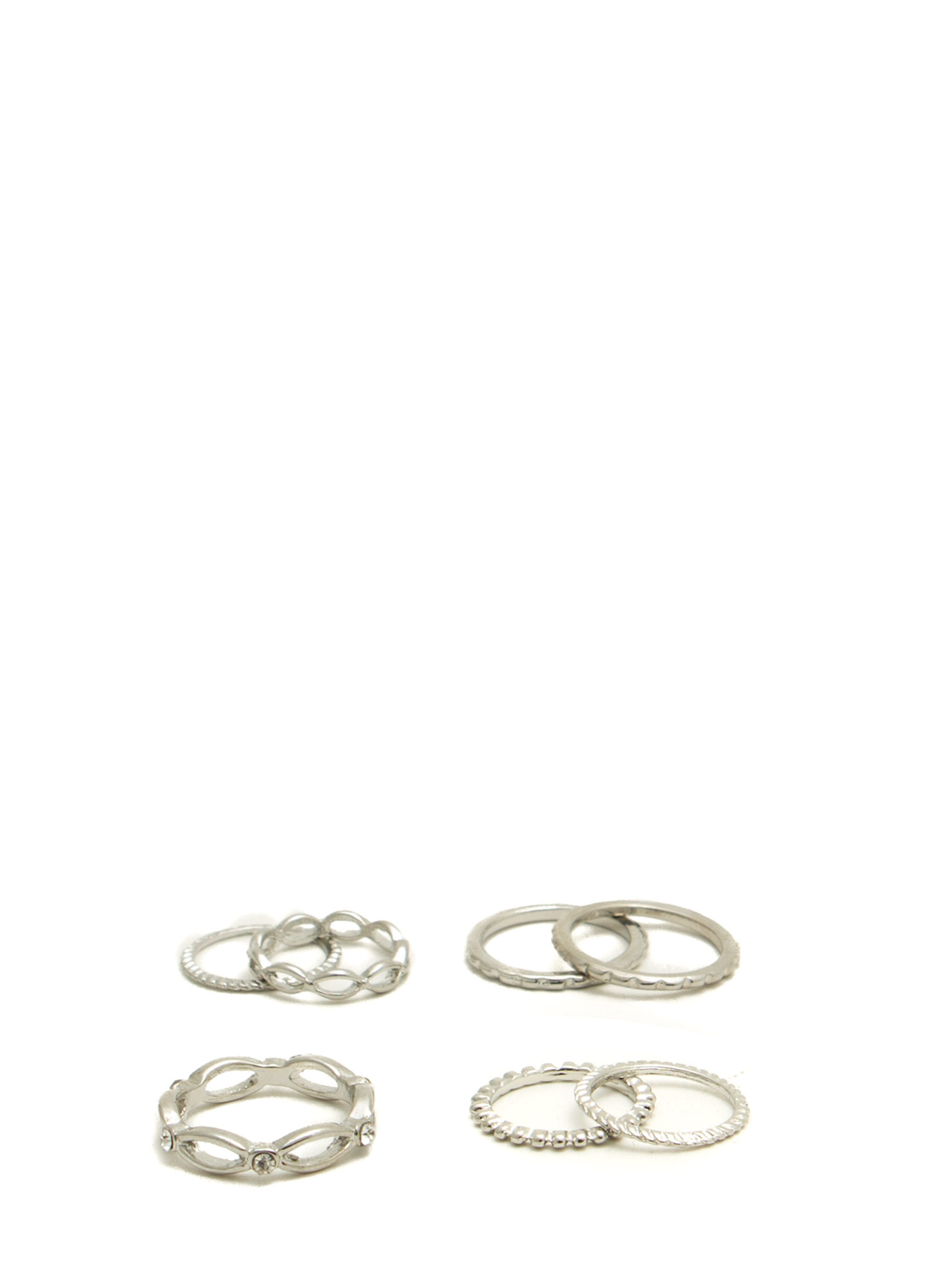 Dainty 'N Textured Metallic Ring Set SILVER