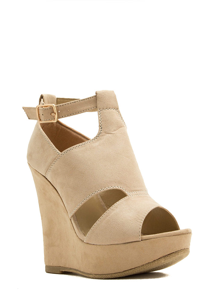 Cut-Out Paneled Peep-Toe Wedges NATURAL