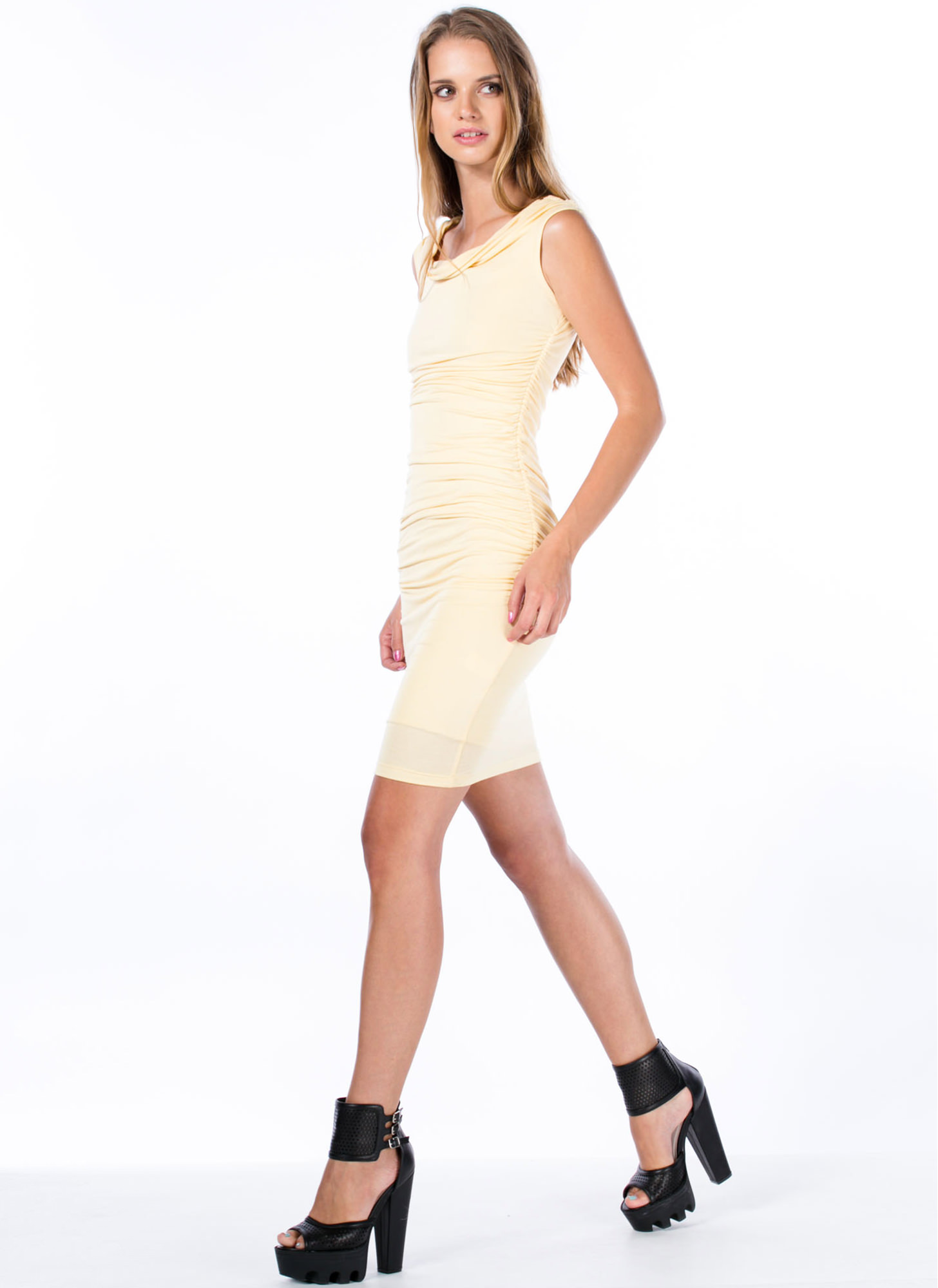 Holy Cowl Ruched Side Draped Dress YELLOW