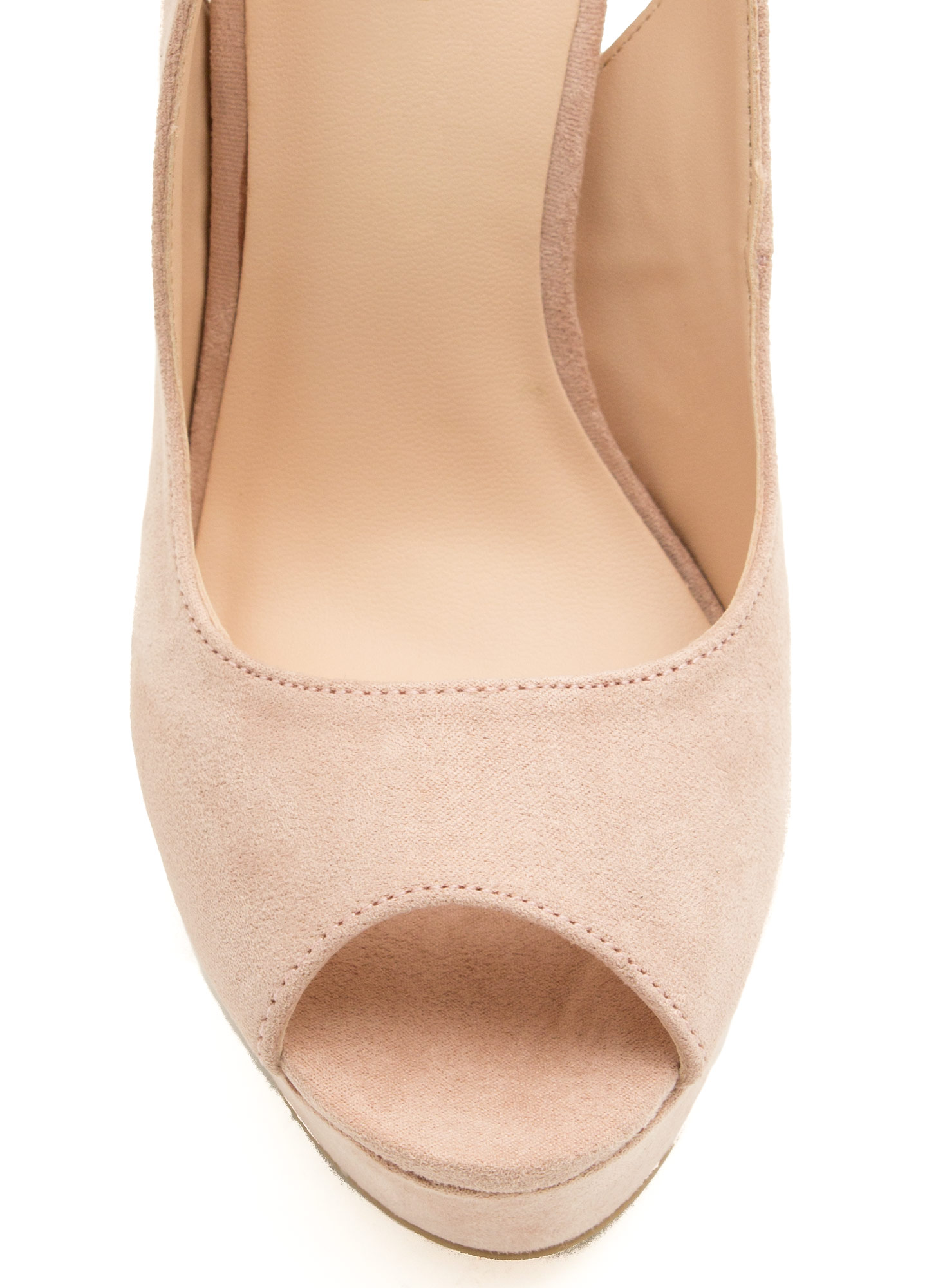 Peep-Toe Show Ankle Strap Platforms NUDE