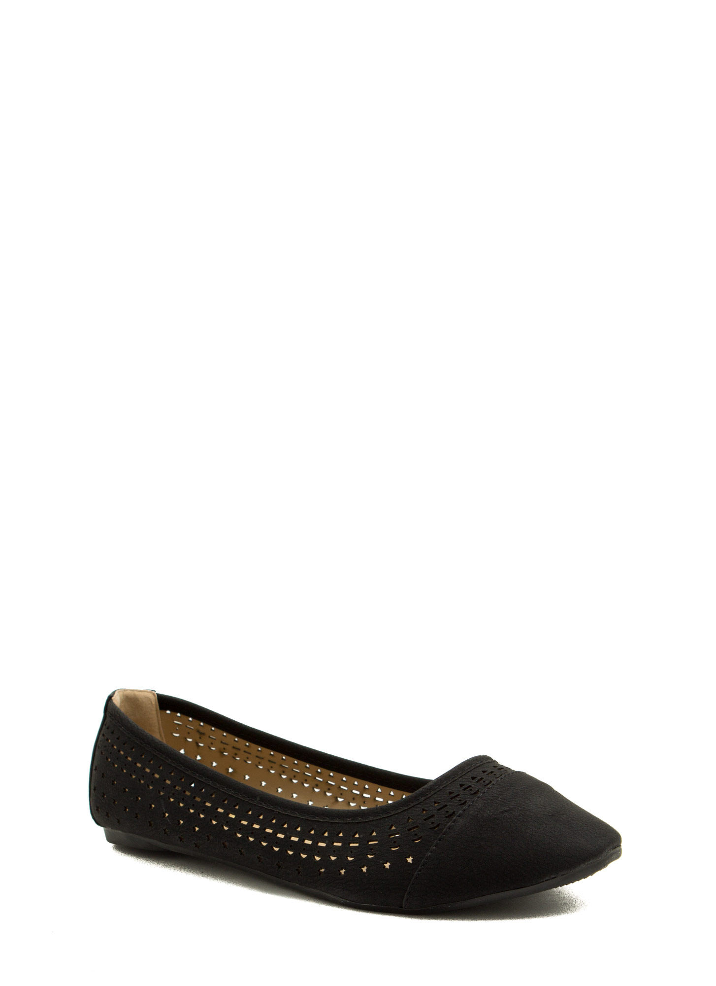 Get Into Shapes Laser Cut Ballet Flats BLACK