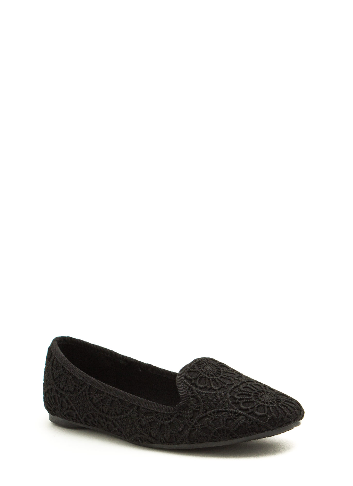 Crochet Creation Floral Smoking Flats BLACK