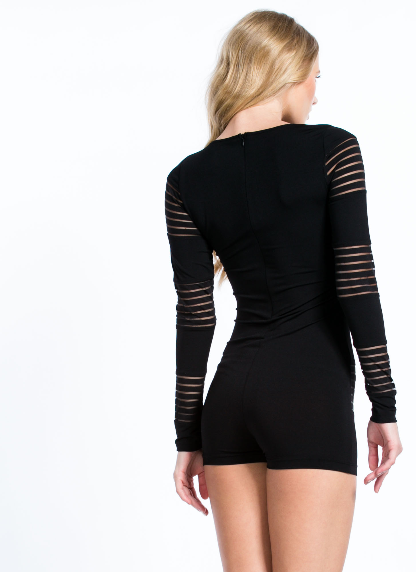 In My Shadow Mesh Sheer Stripe Romper BLACK