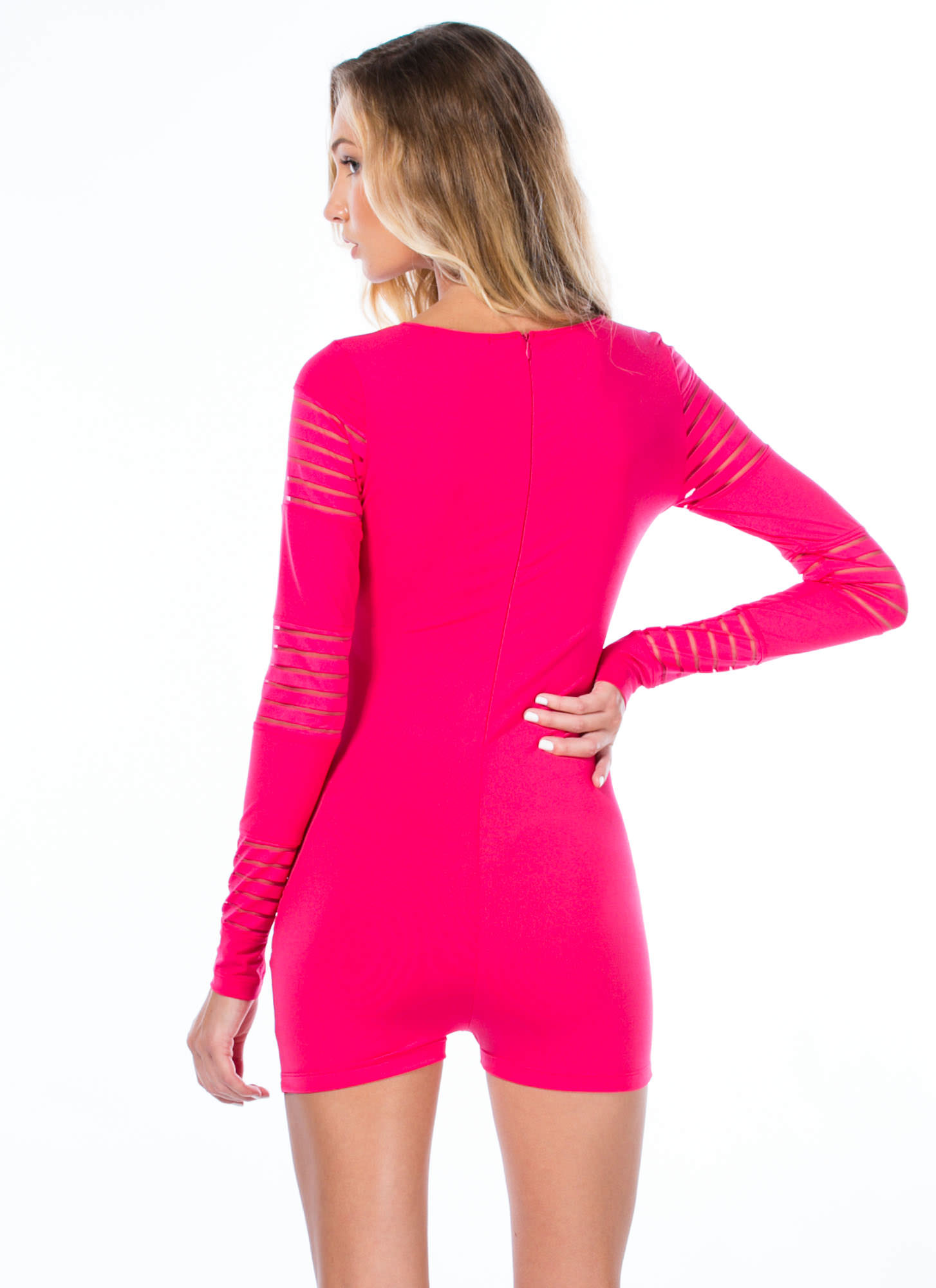 In My Shadow Mesh Sheer Stripe Romper FUCHSIA