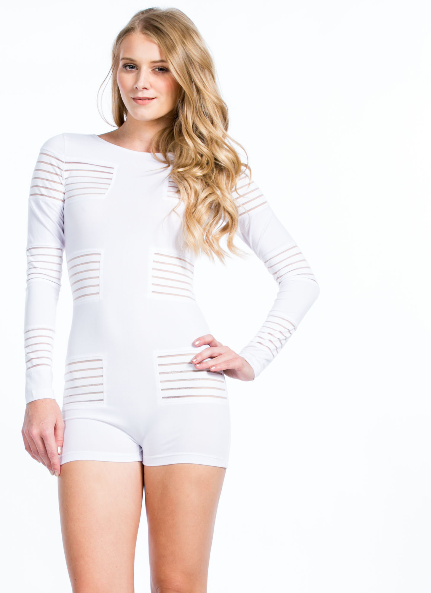 In My Shadow Mesh Sheer Stripe Romper WHITE