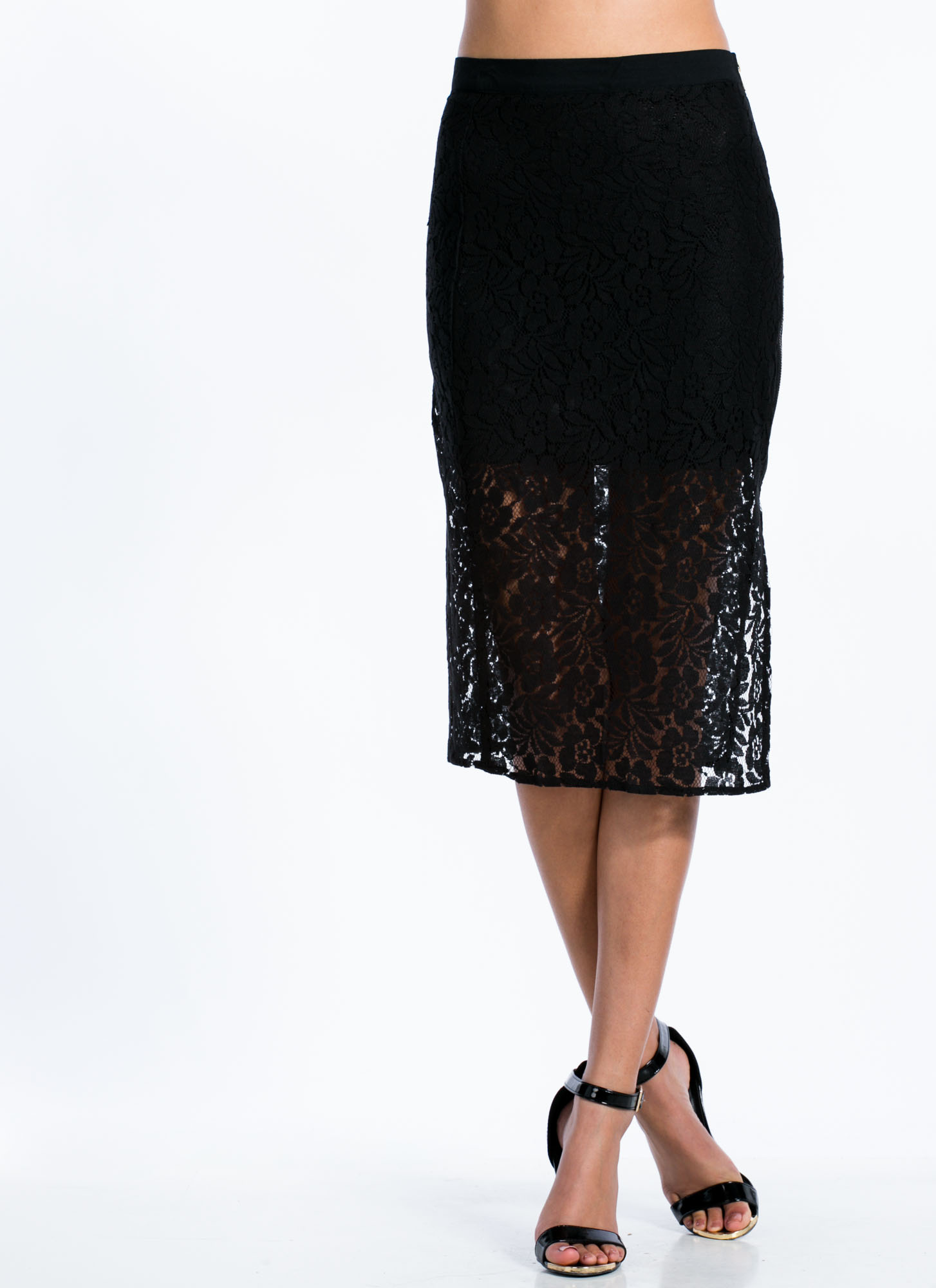 Zip You In Lace Pencil Skirt BLACK