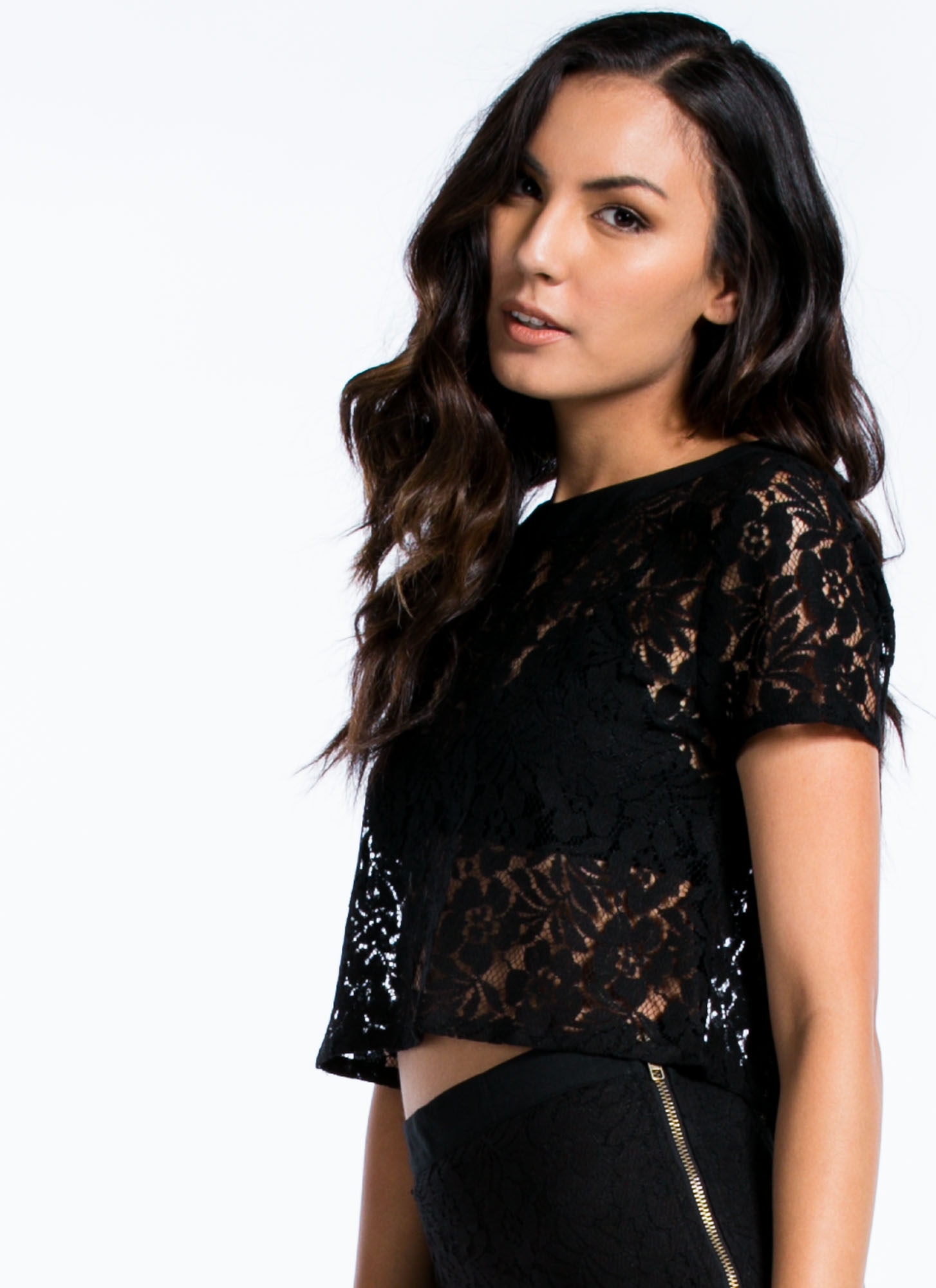 Zip You In Lace Cropped Top BLACK