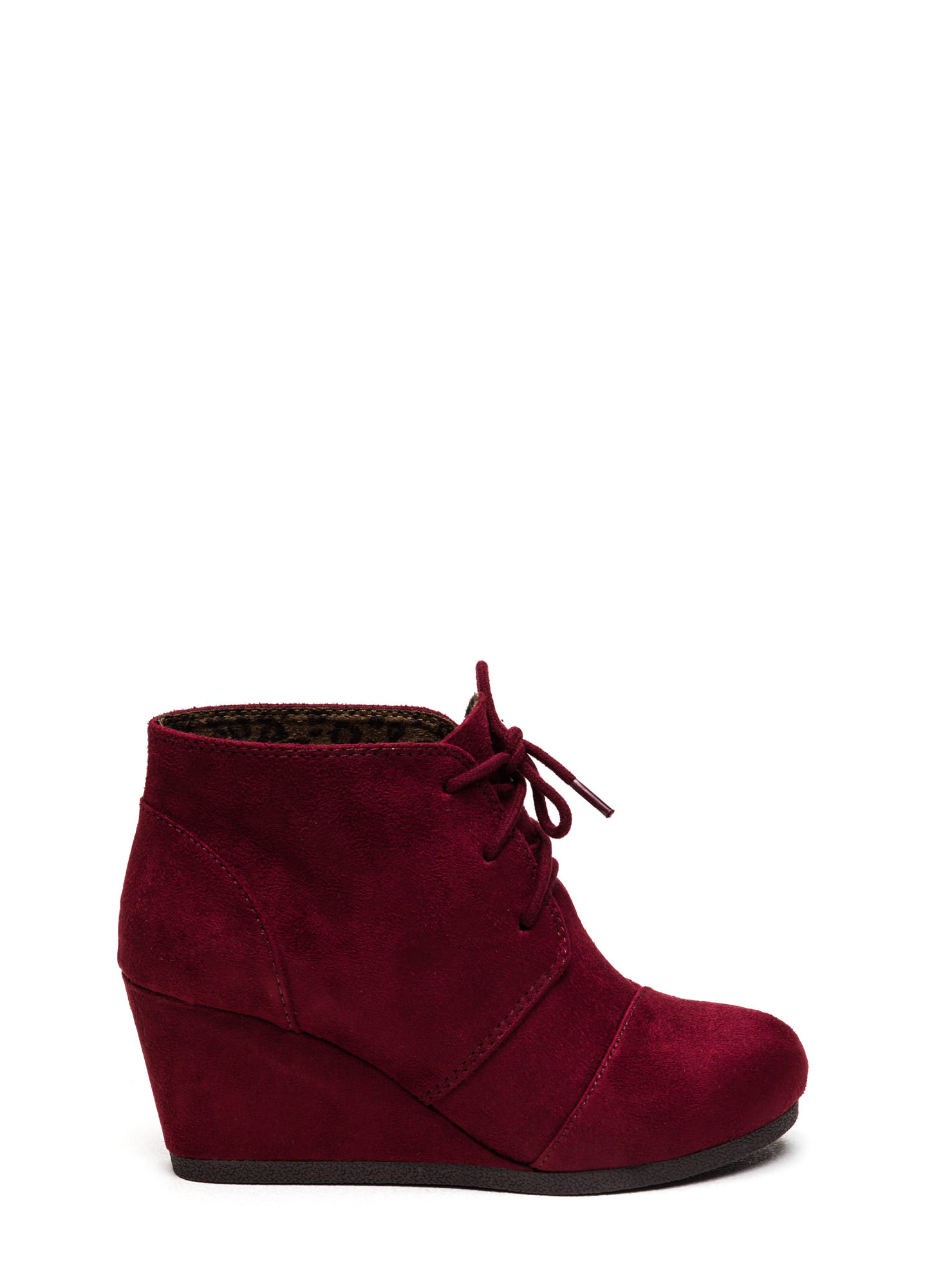 Panel Accent Wedge Booties BURGUNDY