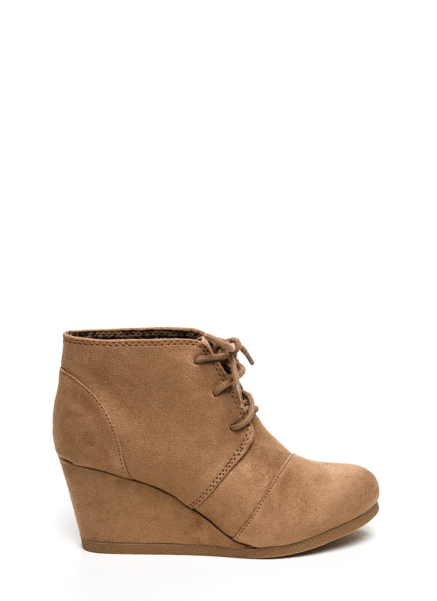 Panel Accent Wedge Booties NATURAL