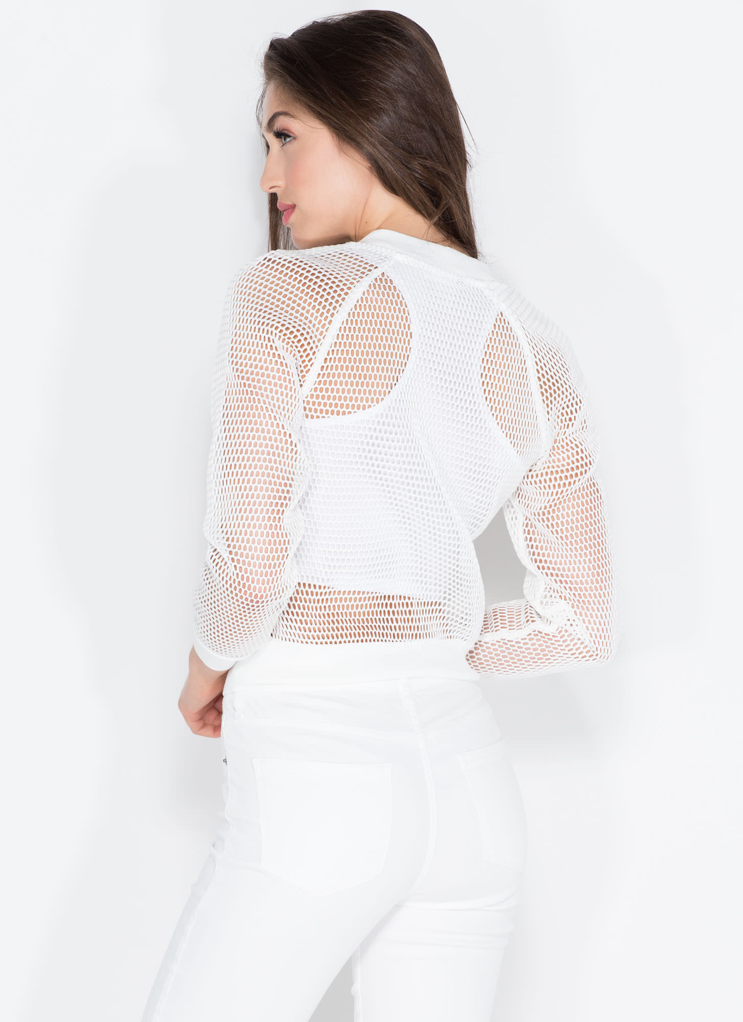 Make A Mesh Net Bomber Jacket WHITE