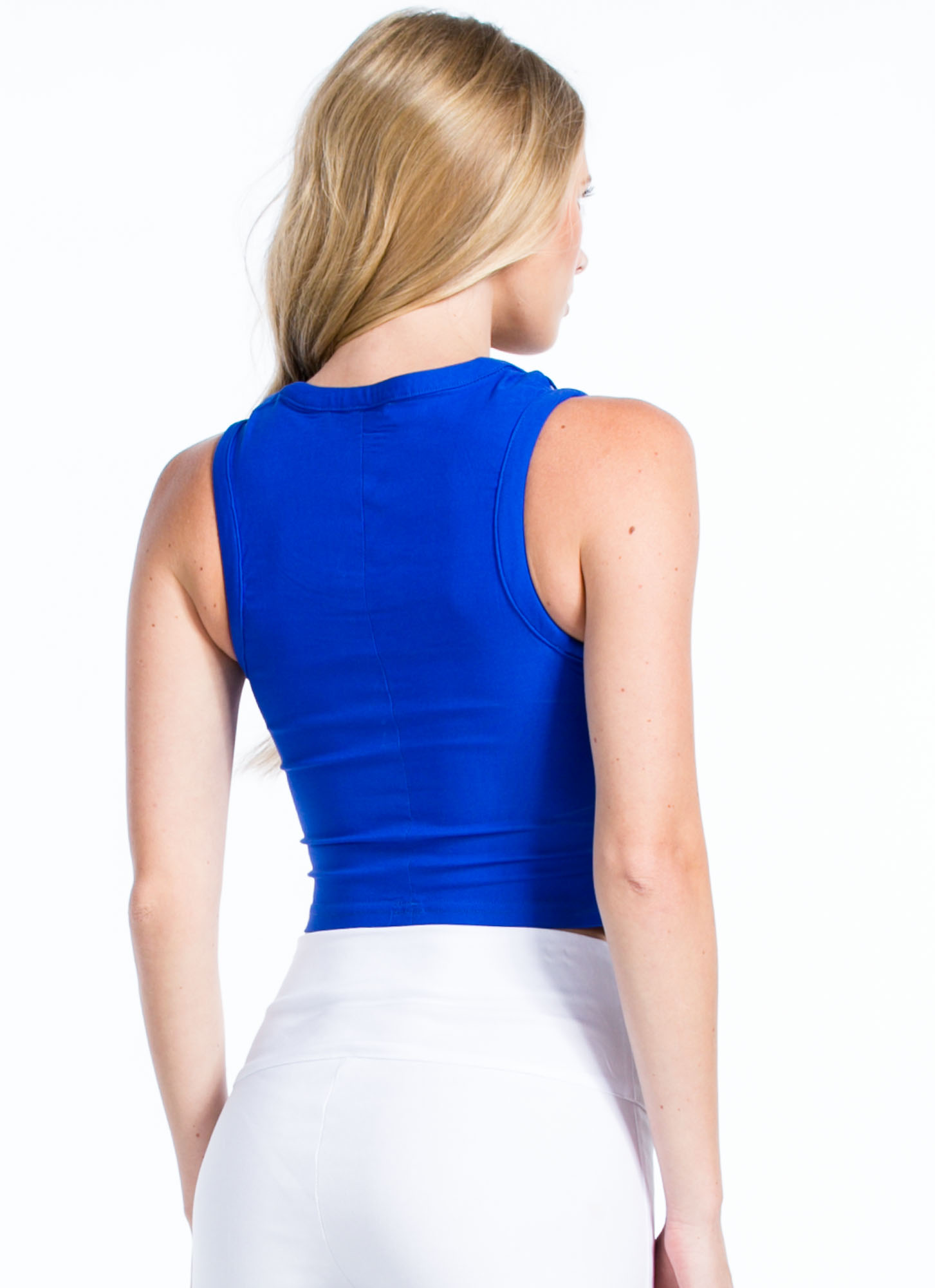 Rung By Rung Cut-Out Cropped Top ROYAL