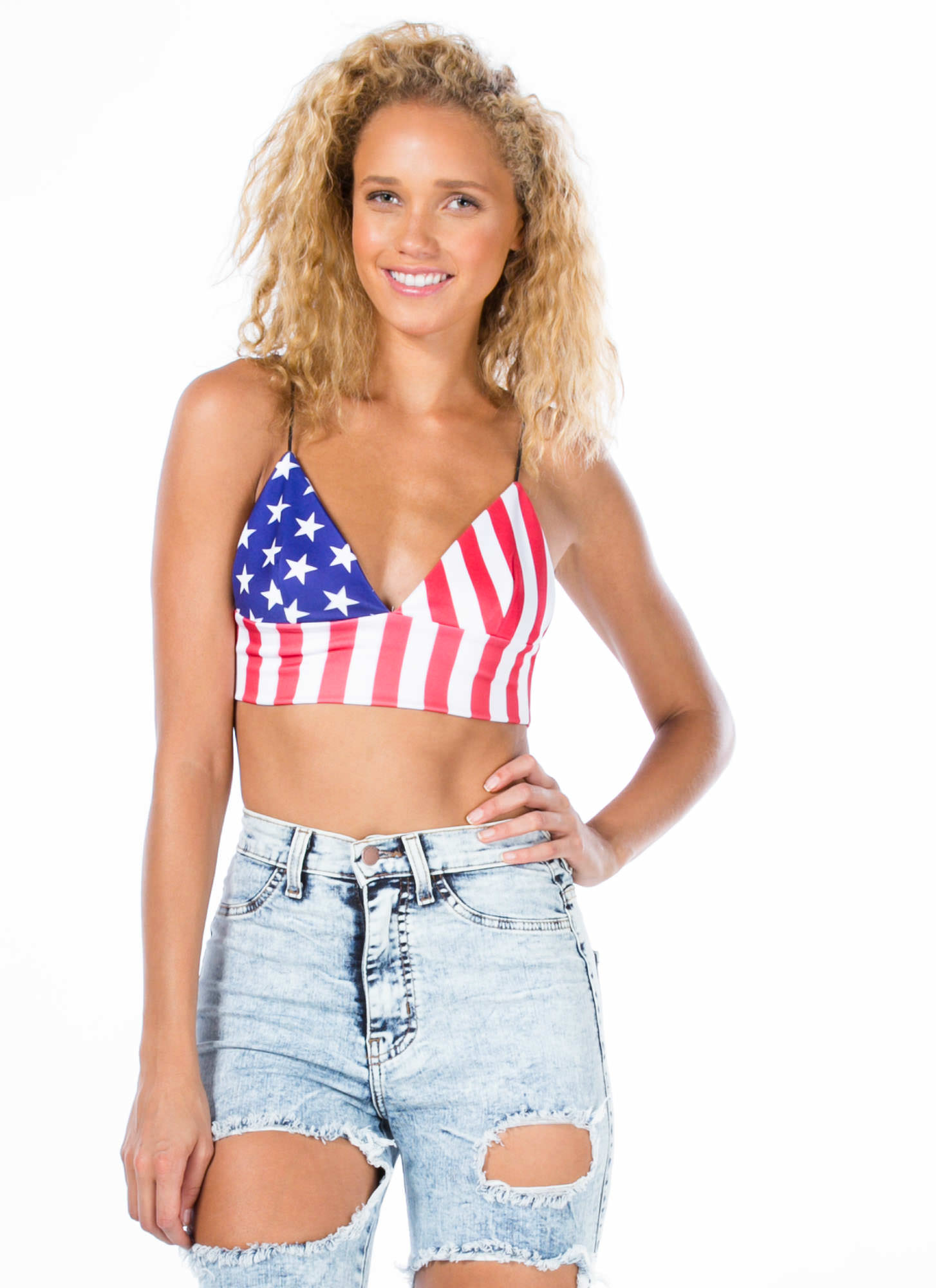 Flagged Down Stars And Stripes Bra Top RED
