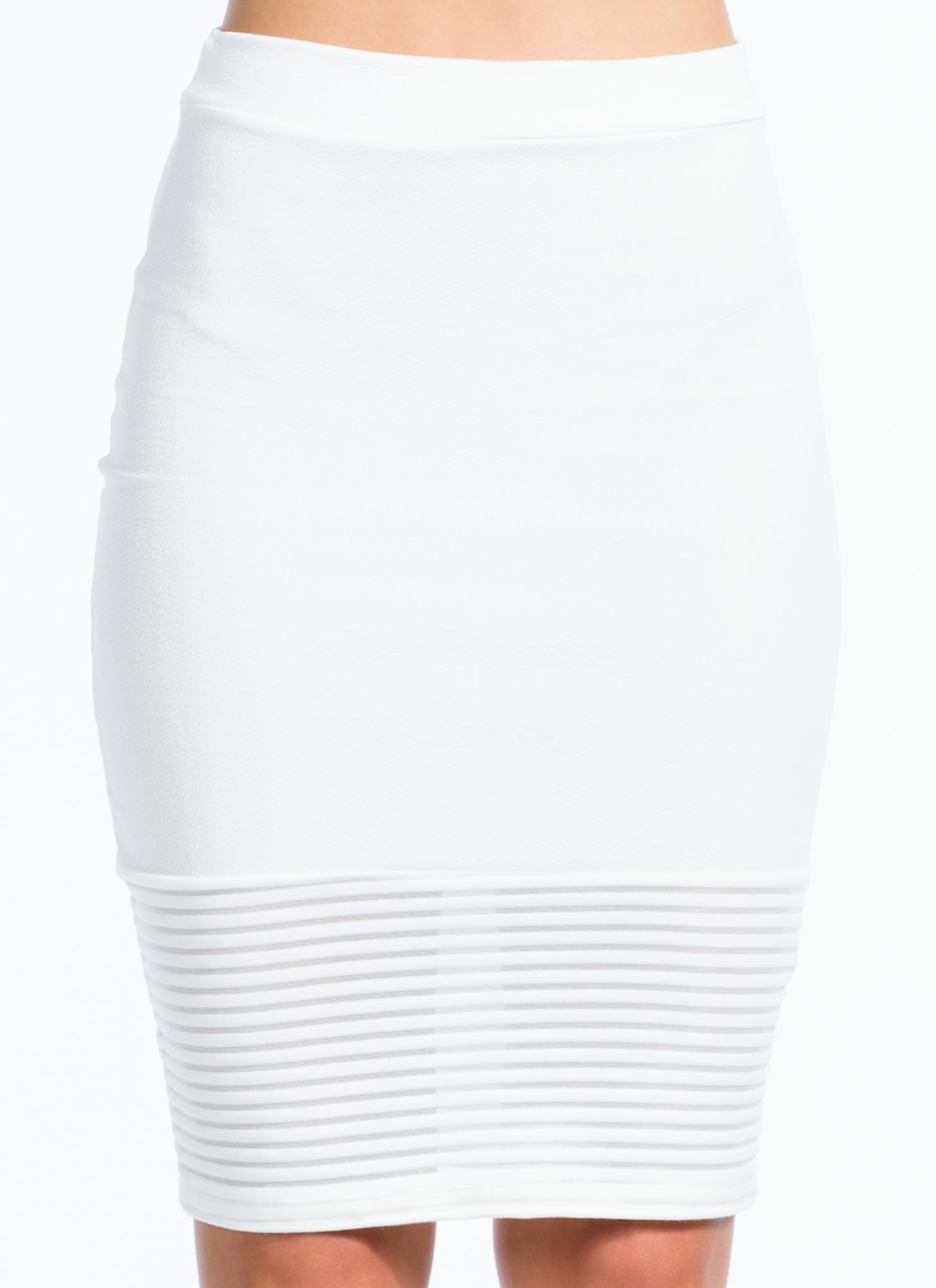 Textured Mesh Stripe Skirt WHITE