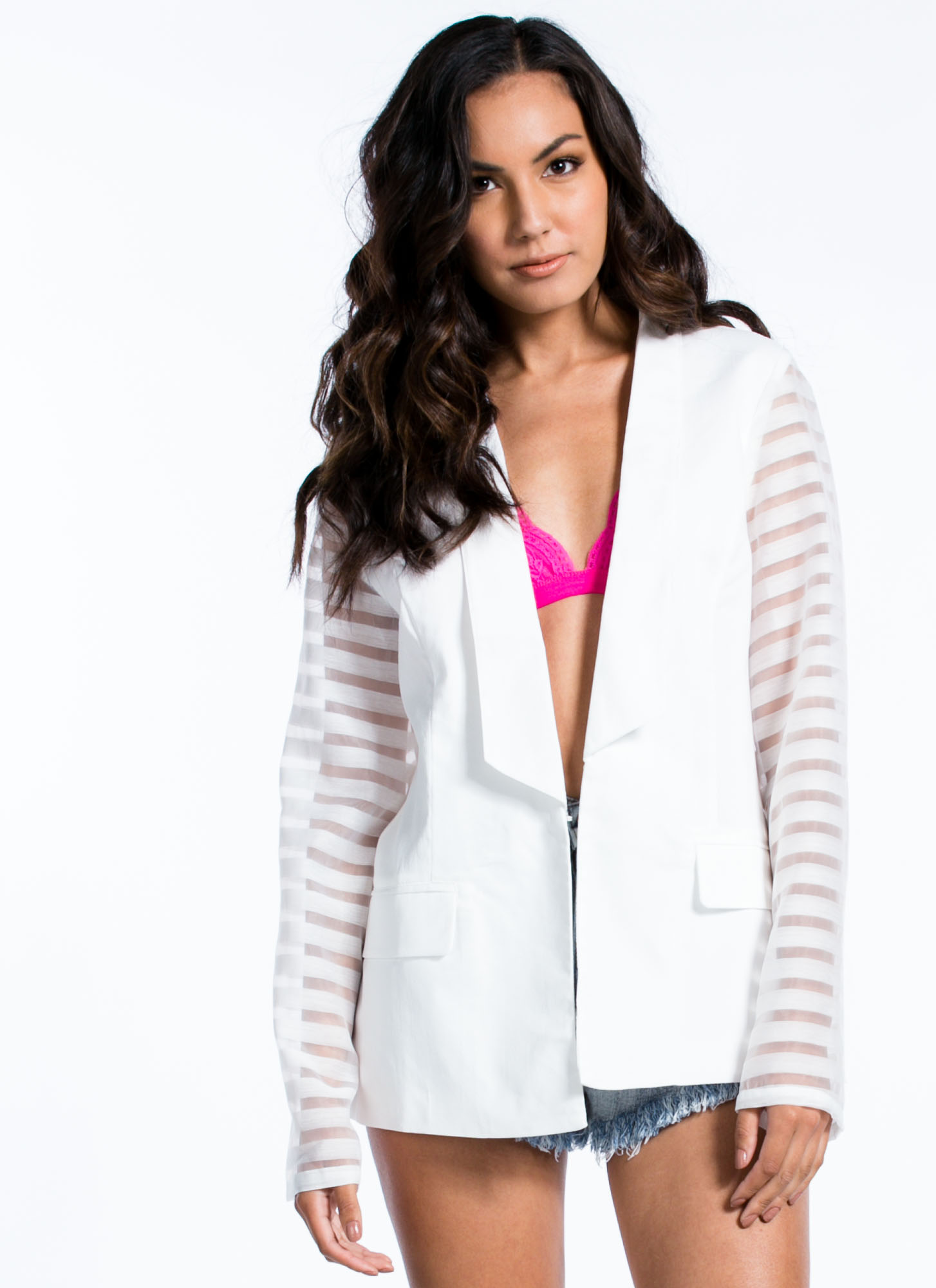 Sheer Striped Blazer WHITE