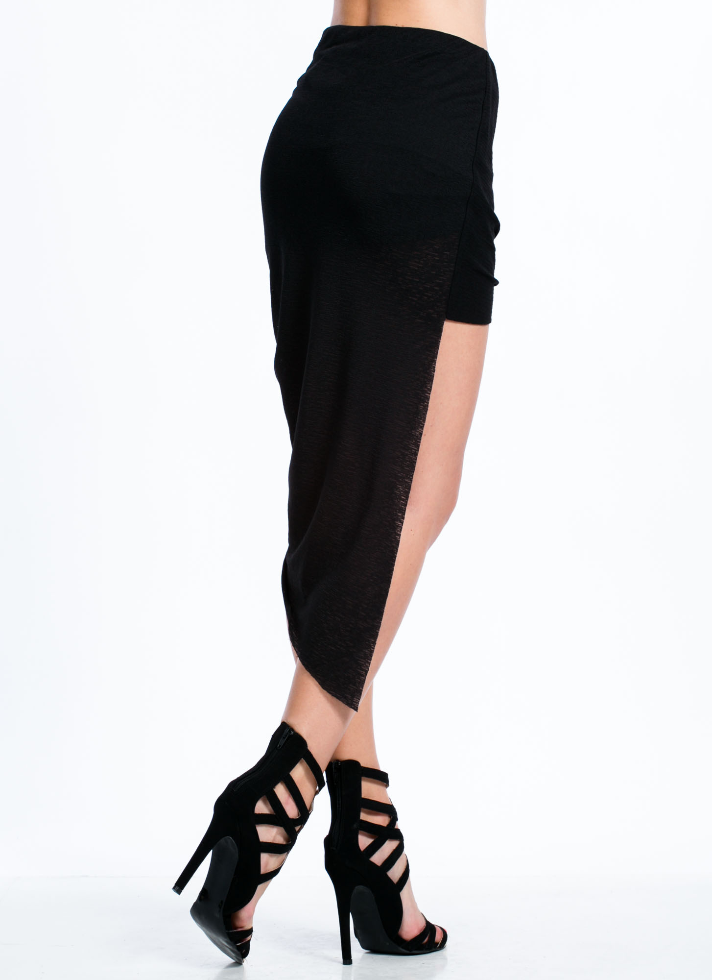 Asymmetrical Draped High-Low Skirt BLACK